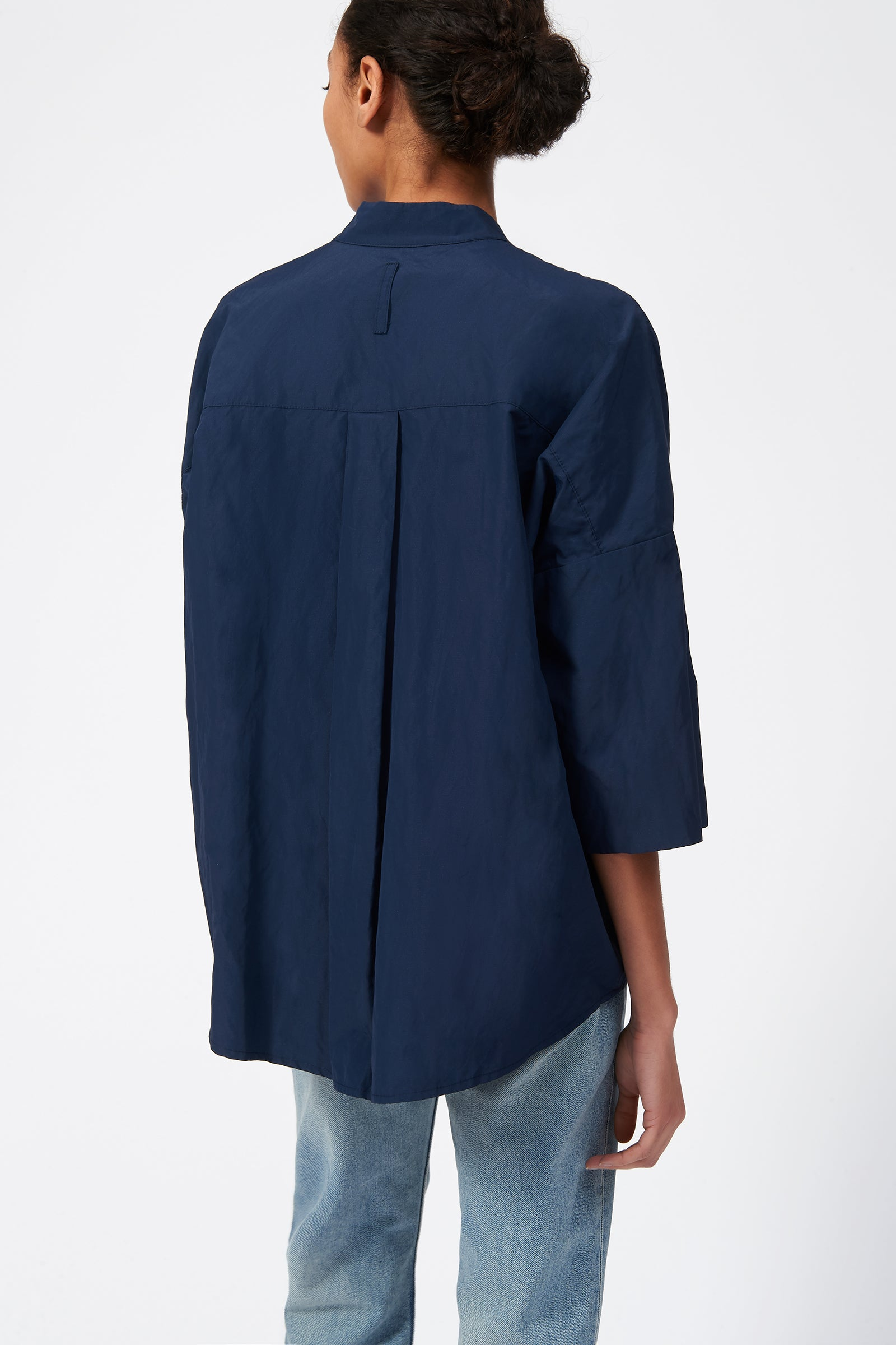 Kal Rieman Pleat Hem Kimono in Navy on Model Full Front View
