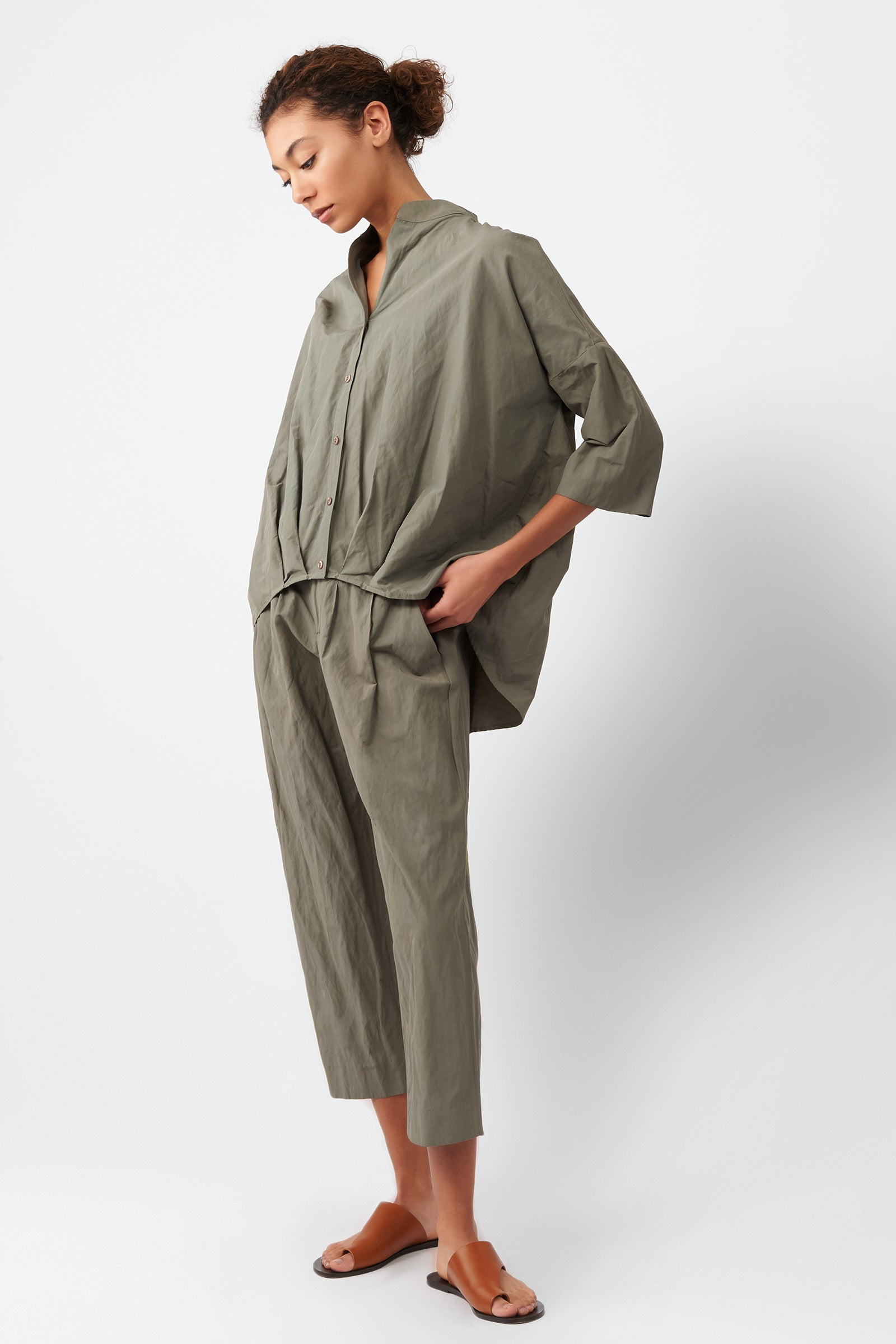 Kal Rieman Pleat Hem Kimono in Olive on Model Full Side View