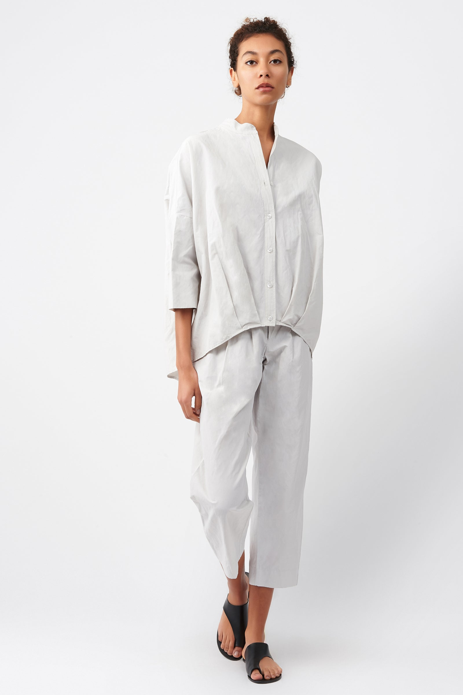Kal Rieman Pleat Hem Kimono in Stone on Model Full Front View