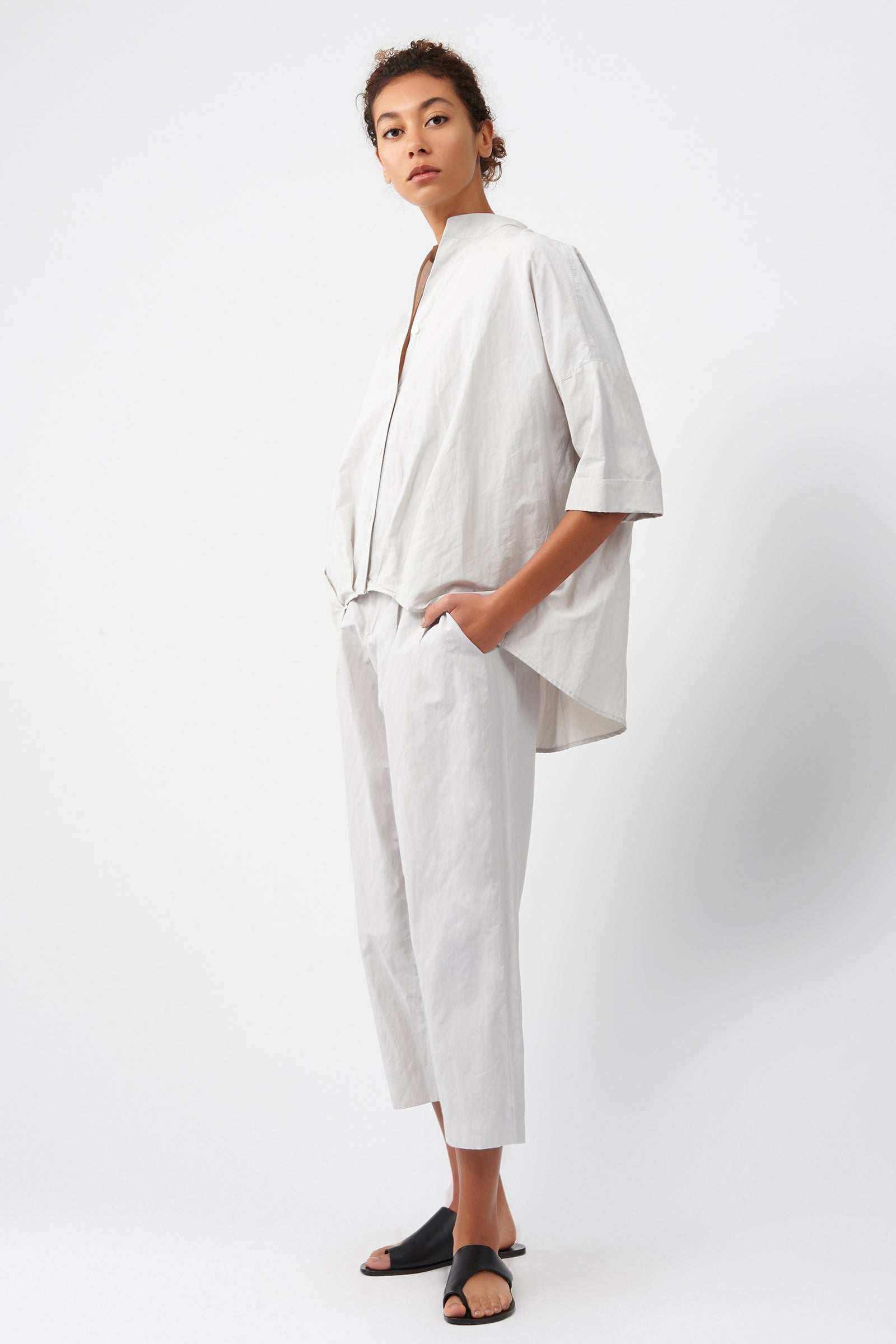 Kal Rieman Pleat Hem Kimono in Stone on Model Full Side View