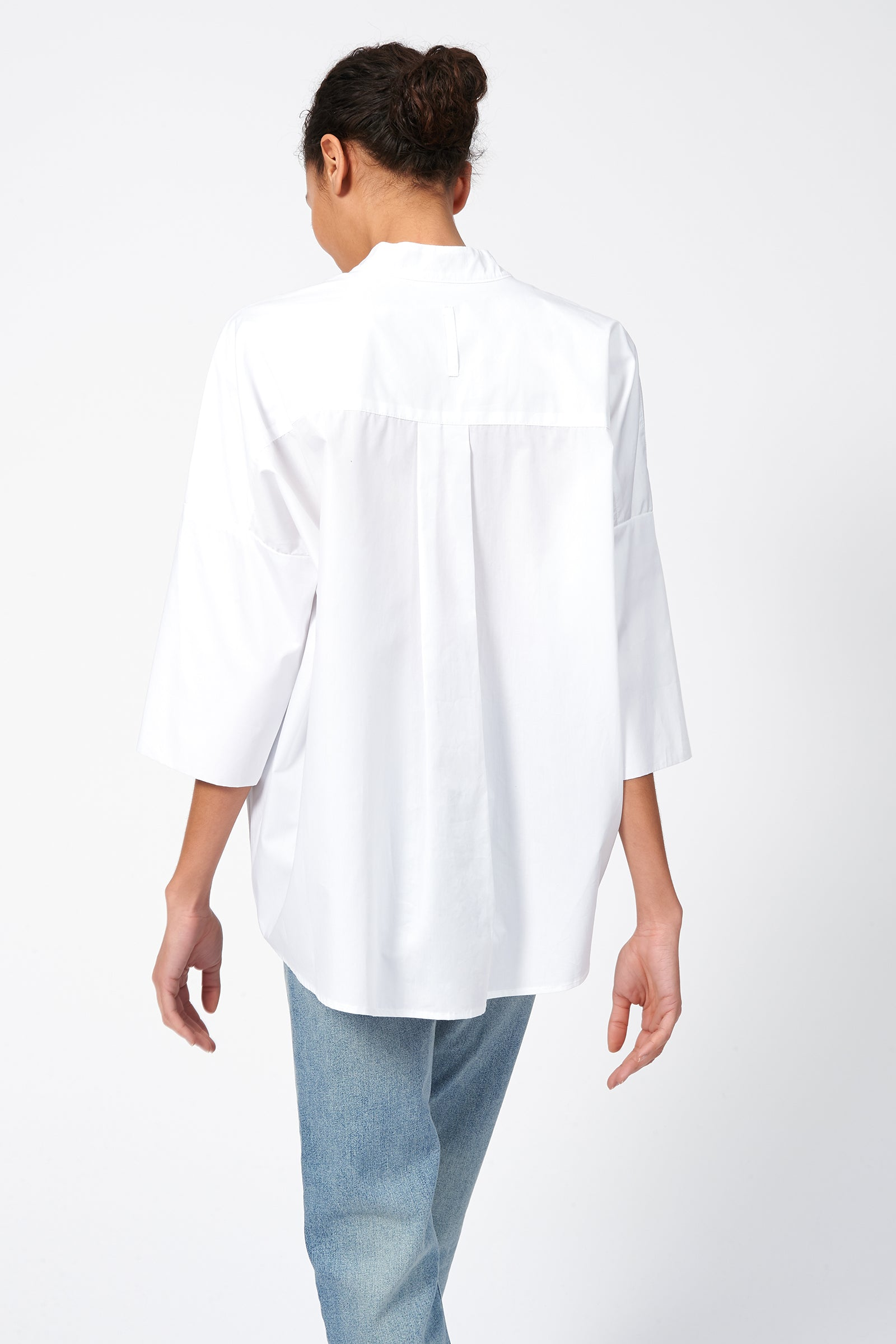 Kal Rieman Pleat Hem Kimono in White Poplin on Model Front View