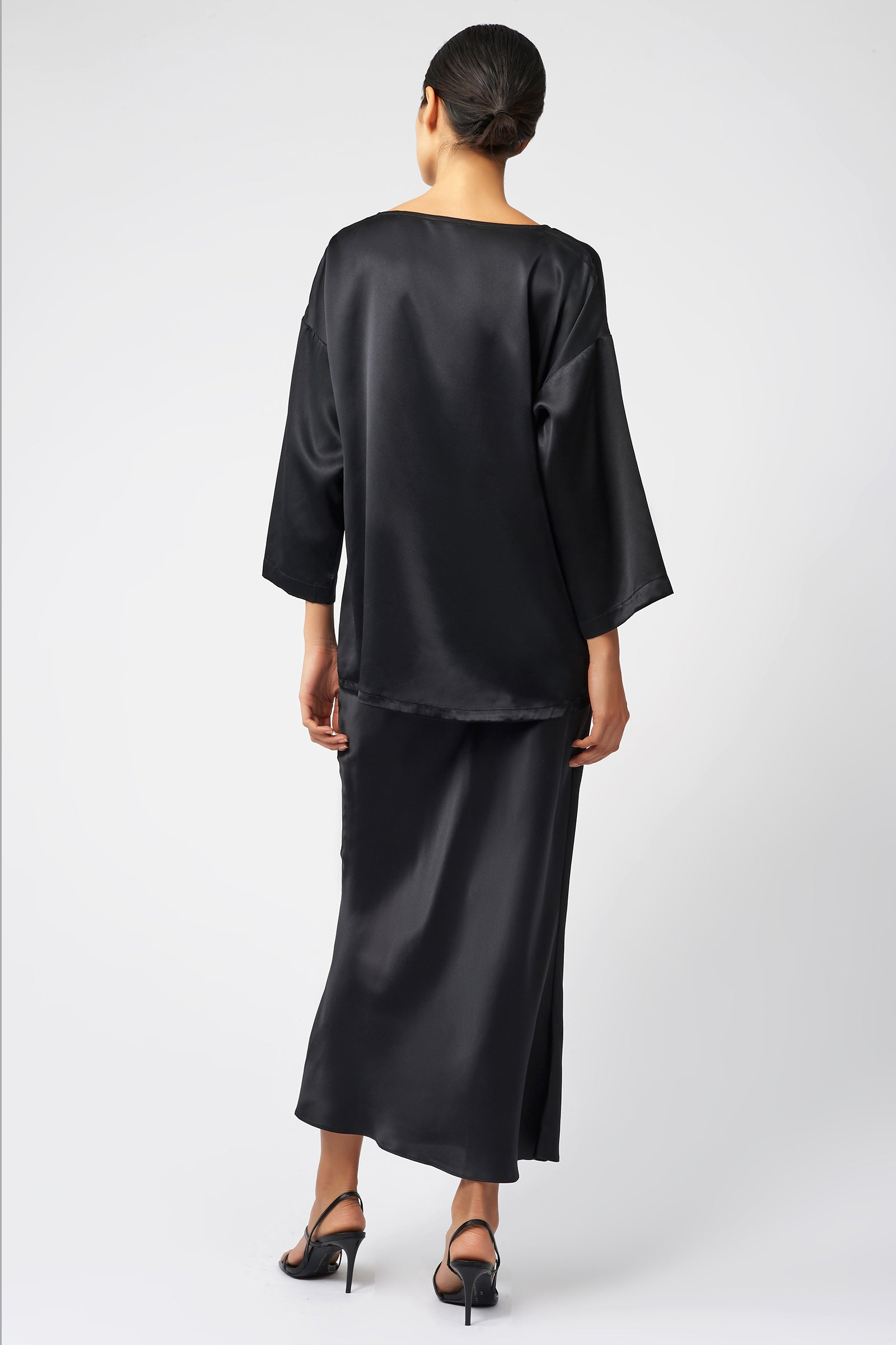 Kal Rieman Bias Silk Skirt in Black on Model Front Back View