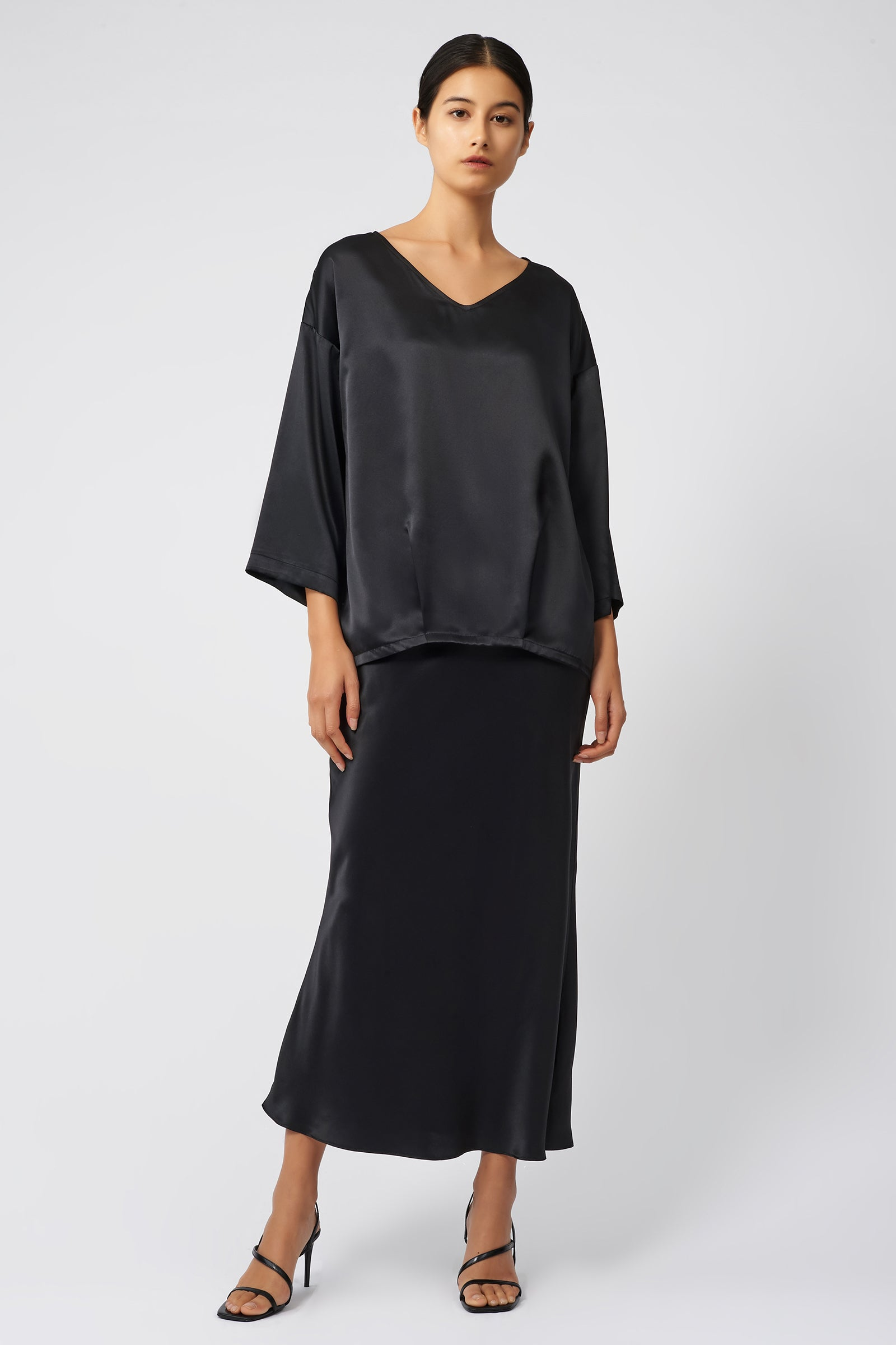 Kal Rieman Bias Silk Skirt in Black on Model Front Full View