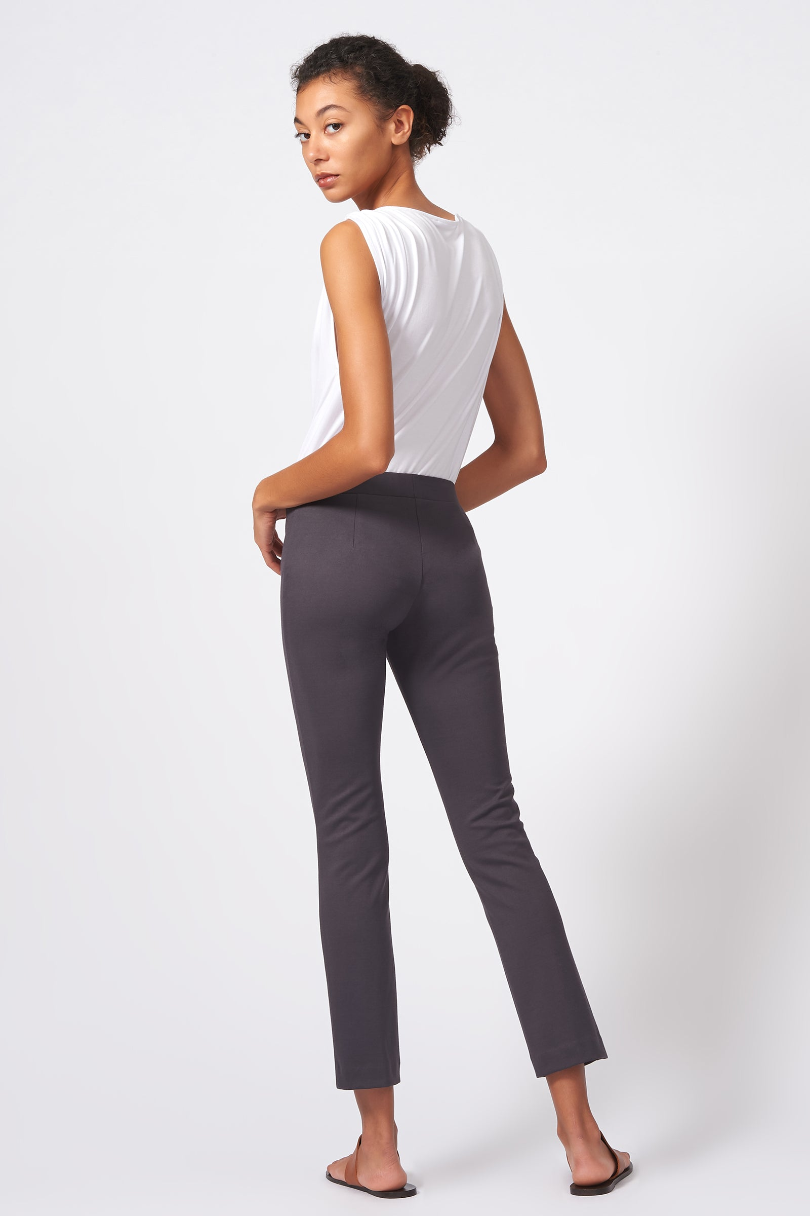 Pintuck Ponte Ankle Pant - Charcoal