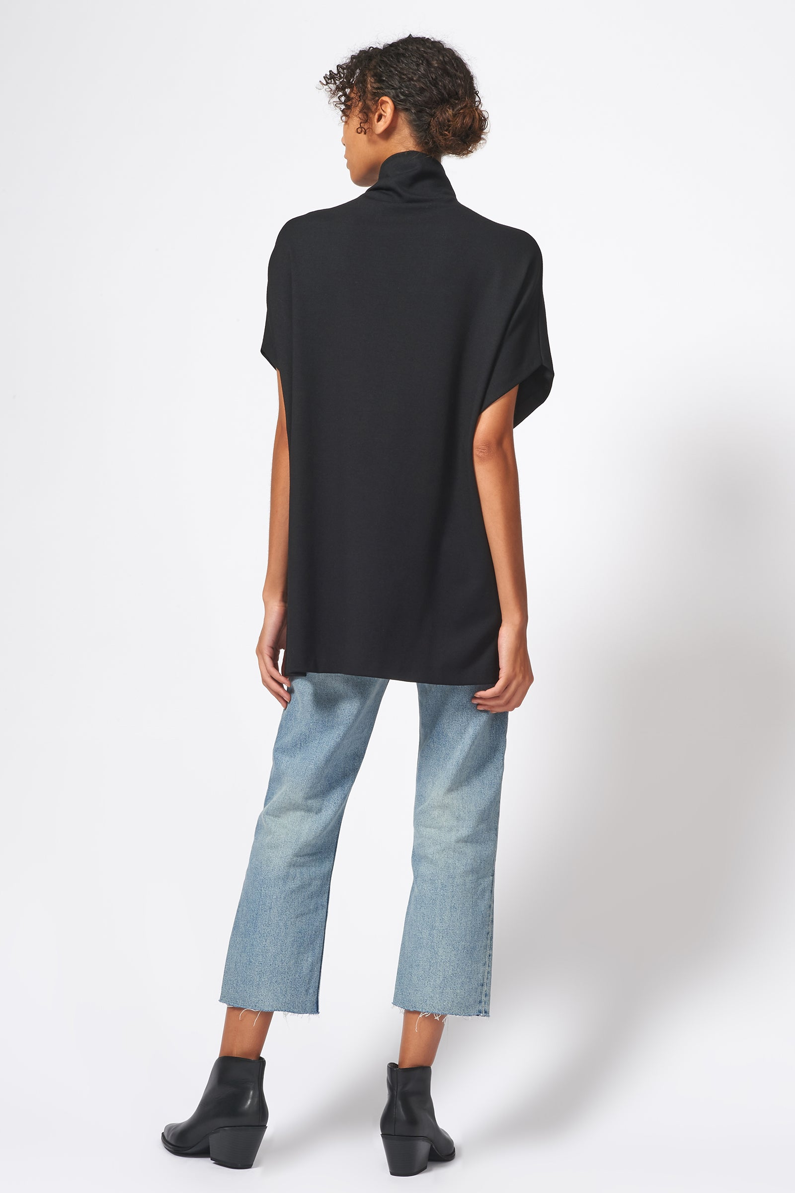 Kal Rieman Ponte Funnelneck in Black on Model Full Back View with Cropped Jeans