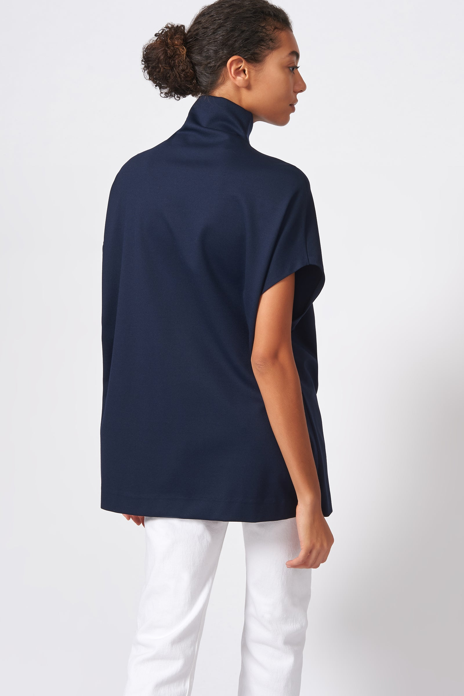 Kal Rieman Ponte Funnelneck in Navy on Model Back View