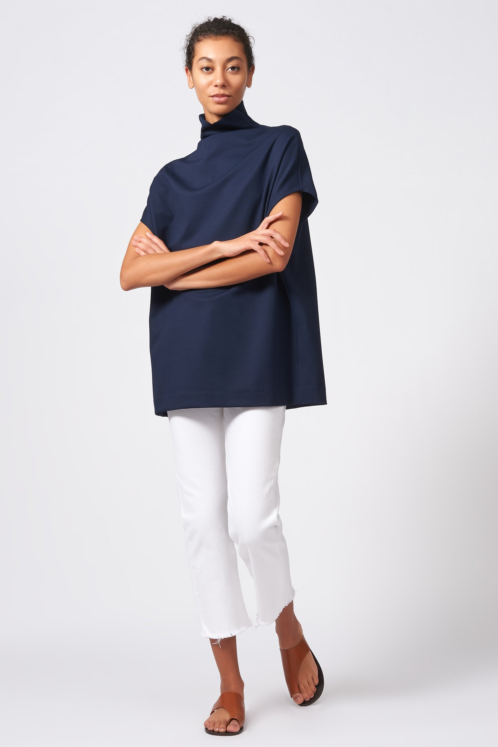 Kal Rieman Ponte Funnelneck in Navy on Model Full Front View
