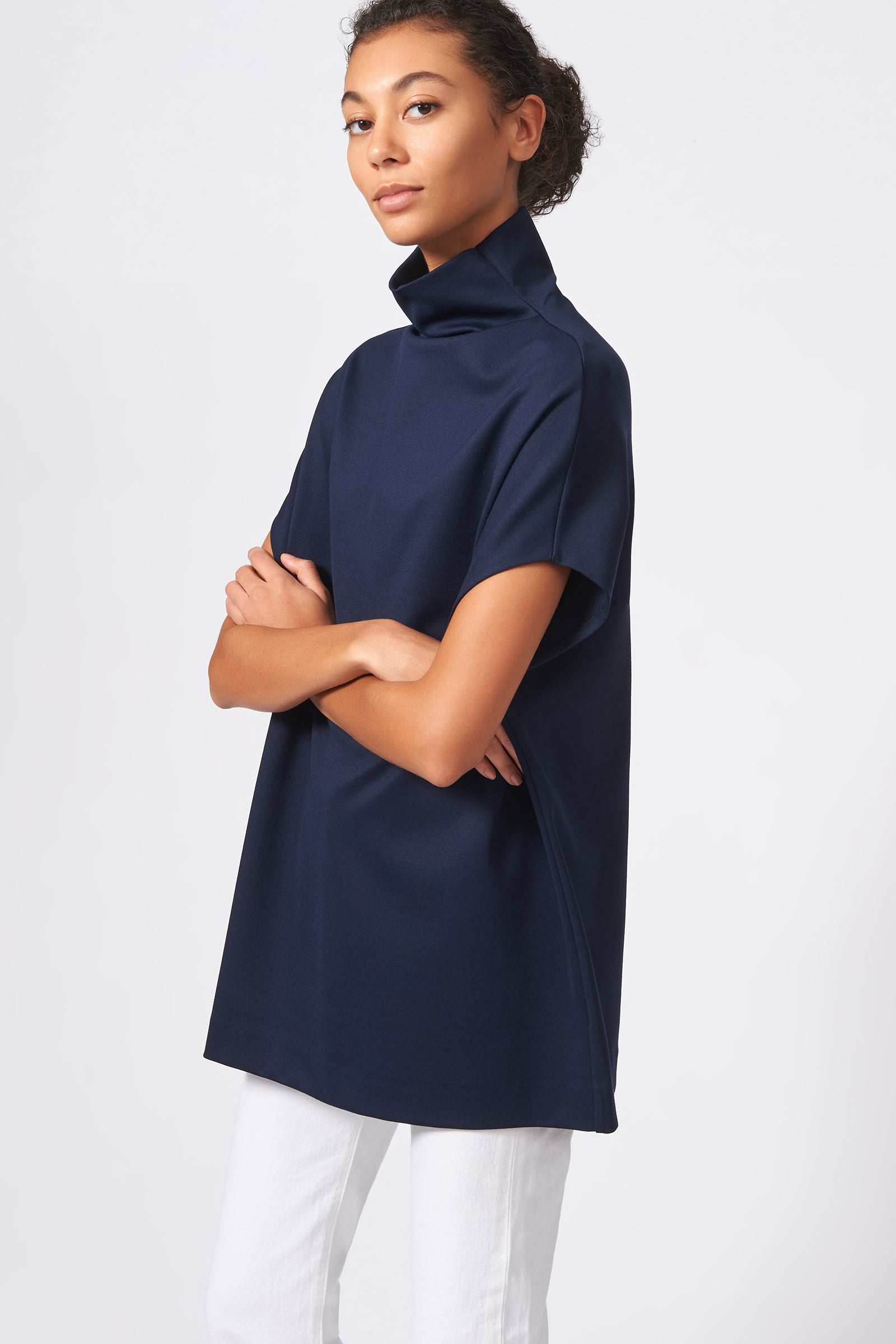 Kal Rieman Ponte Funnelneck in Navy on Model Front Side View