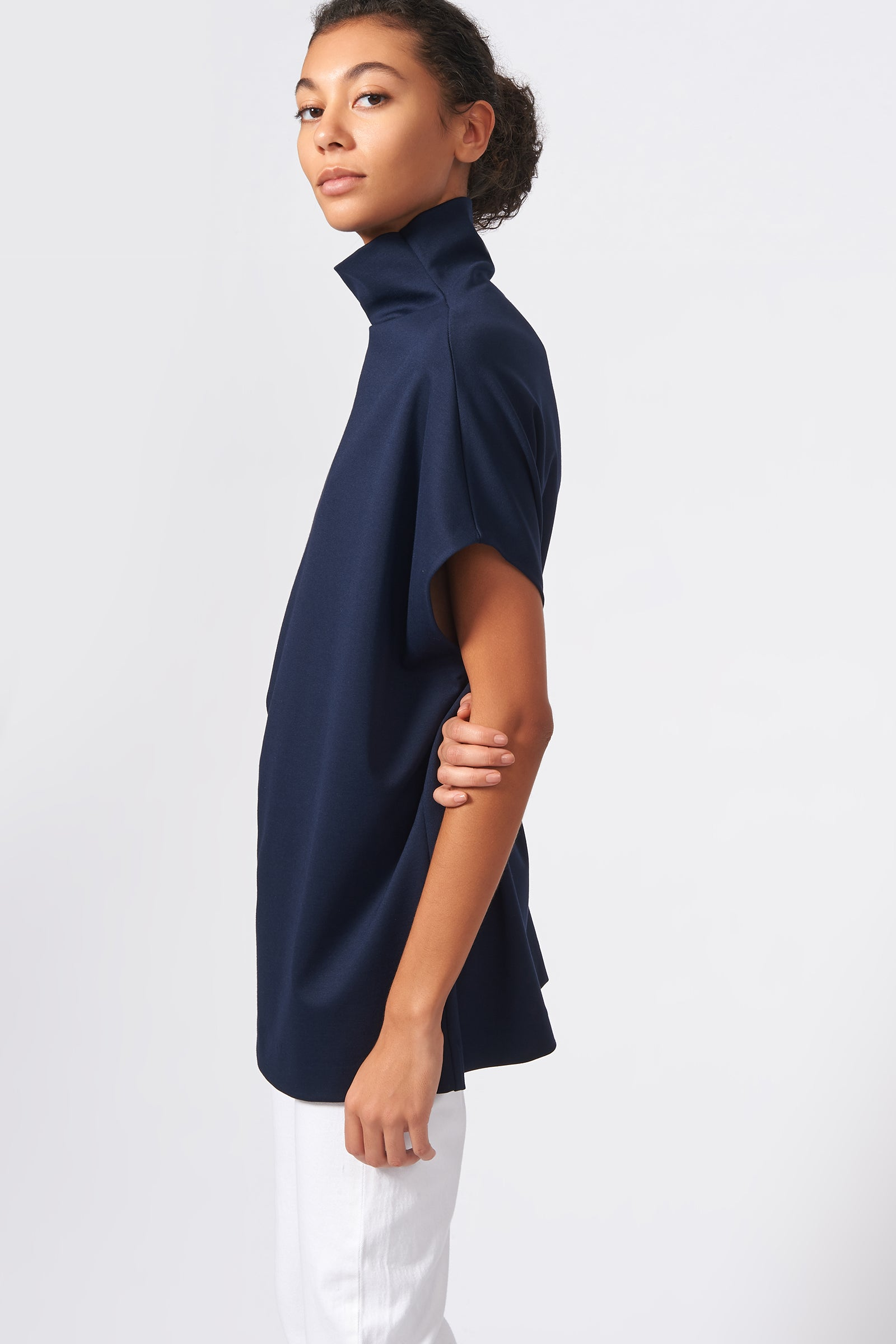 Kal Rieman Ponte Funnelneck in Navy on Model Side View