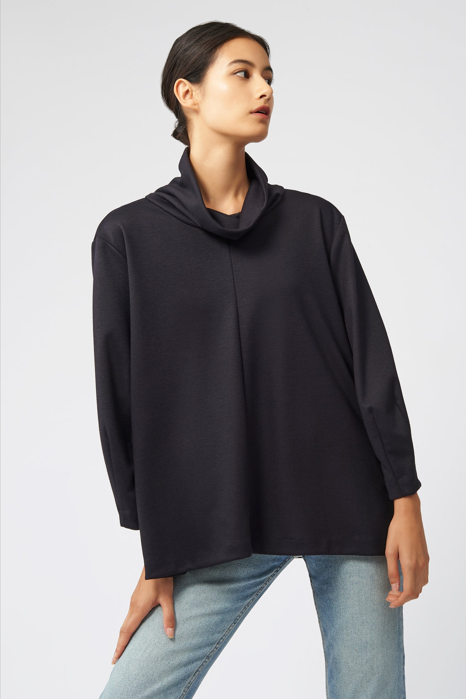 Kal Rieman Ponte Swing Turtleneck in Black on Model Front View