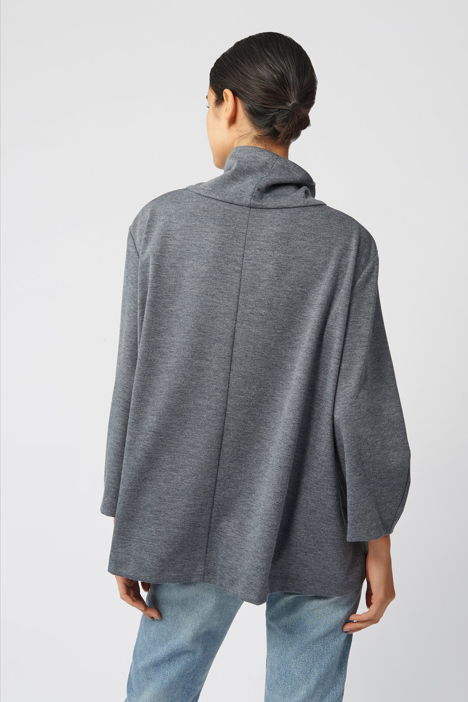 Kal Rieman Ponte Swing Turtleneck in Heather Grey on Model Front Side View