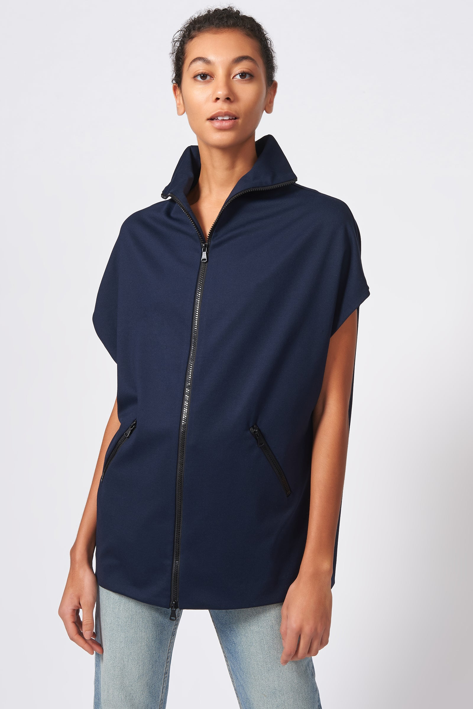 Kal Rieman Ponte Zip Mock Cardigan in Navy on Model Front View
