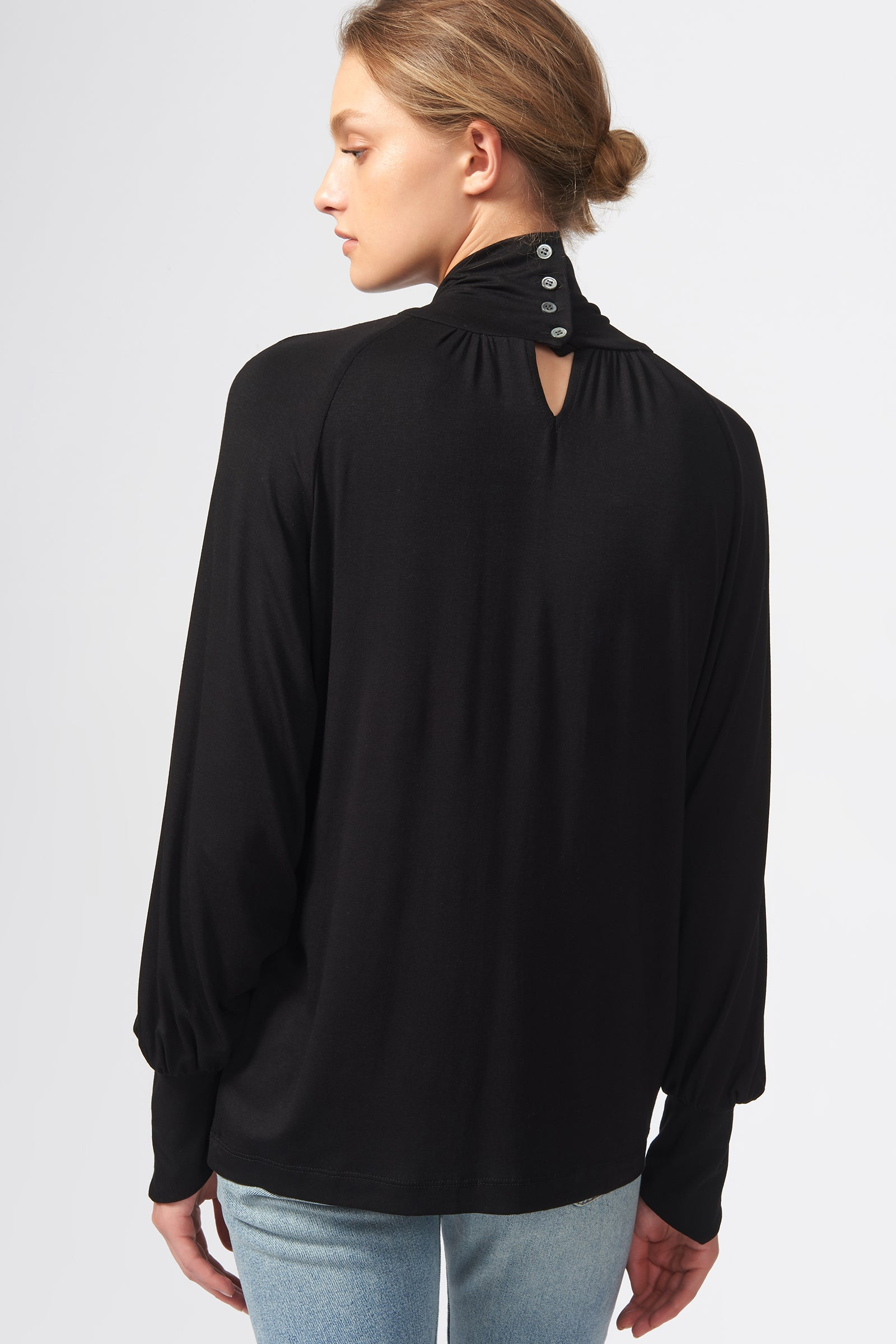 Kal Rieman Priestess Knit Blouse in Black on Model Back View