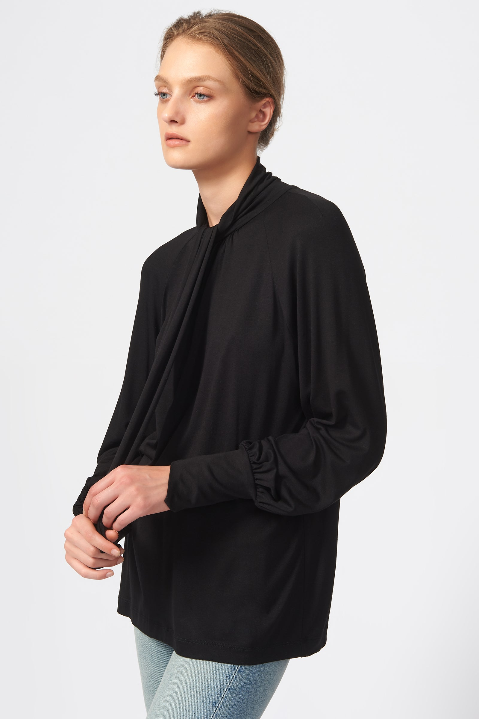 Kal Rieman Priestess Knit Blouse in Black on Model Side View