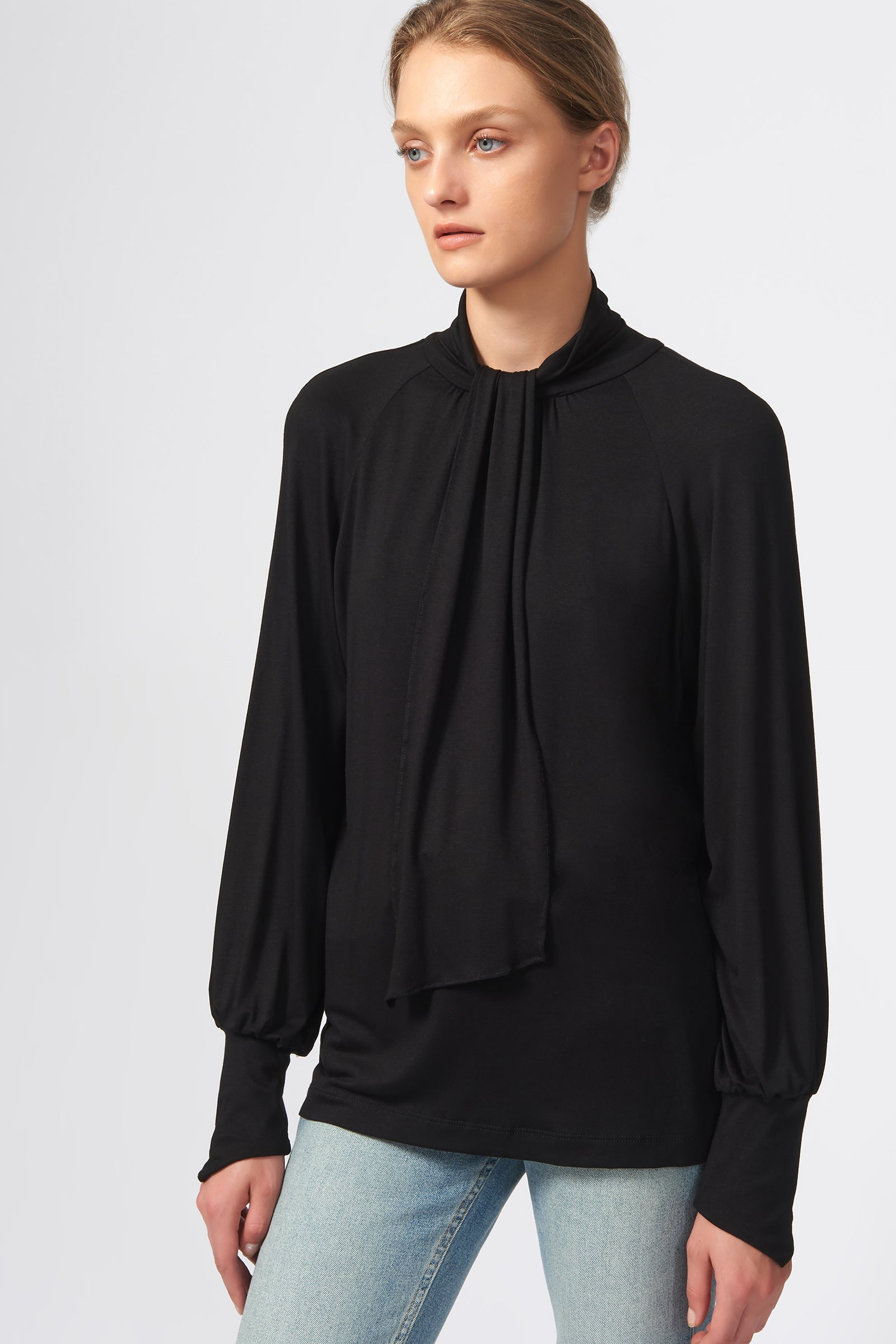 Kal Rieman Priestess Knit Blouse in Black on Model Front View