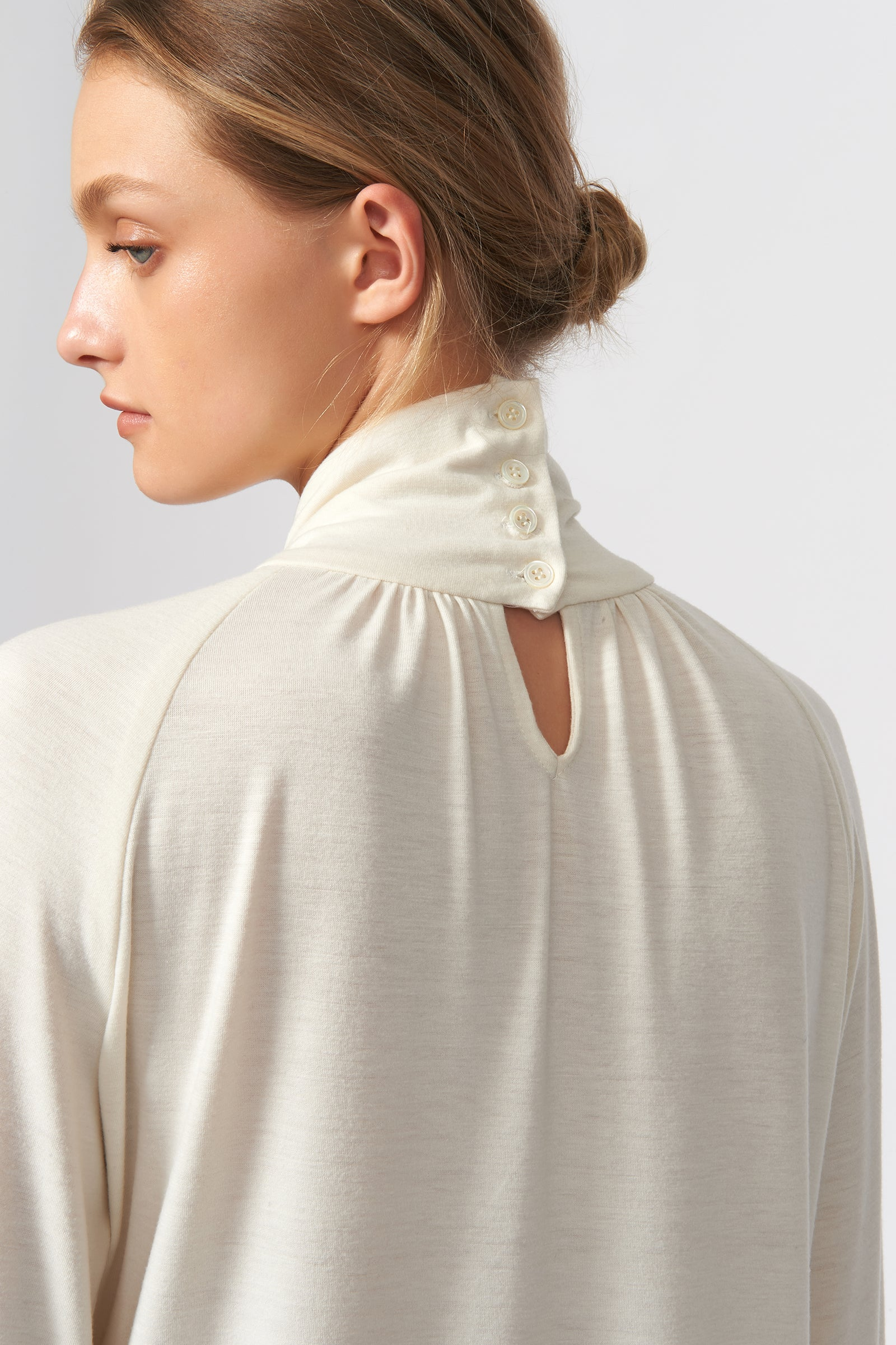 Kal Rieman Priestess Knit Blouse in Cream on Model Back Detail View