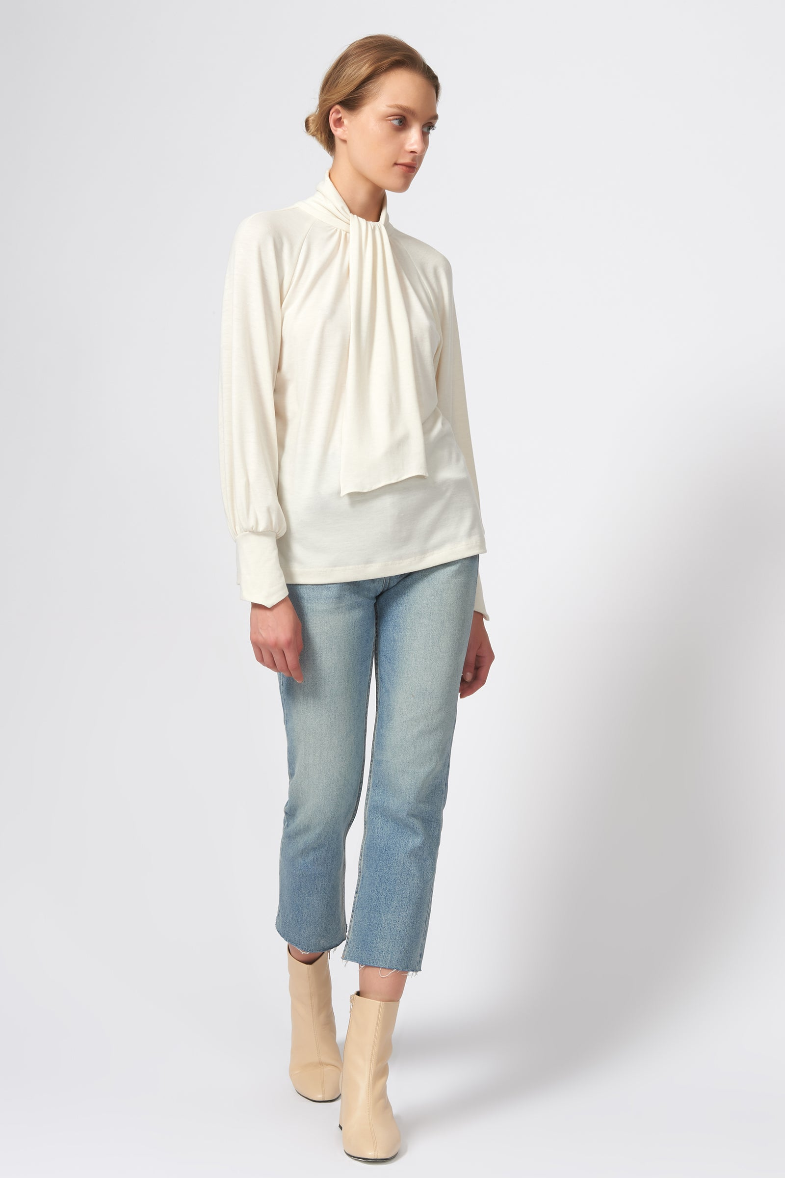 Kal Rieman Priestess Knit Blouse in Cream on Model Full Front Side View