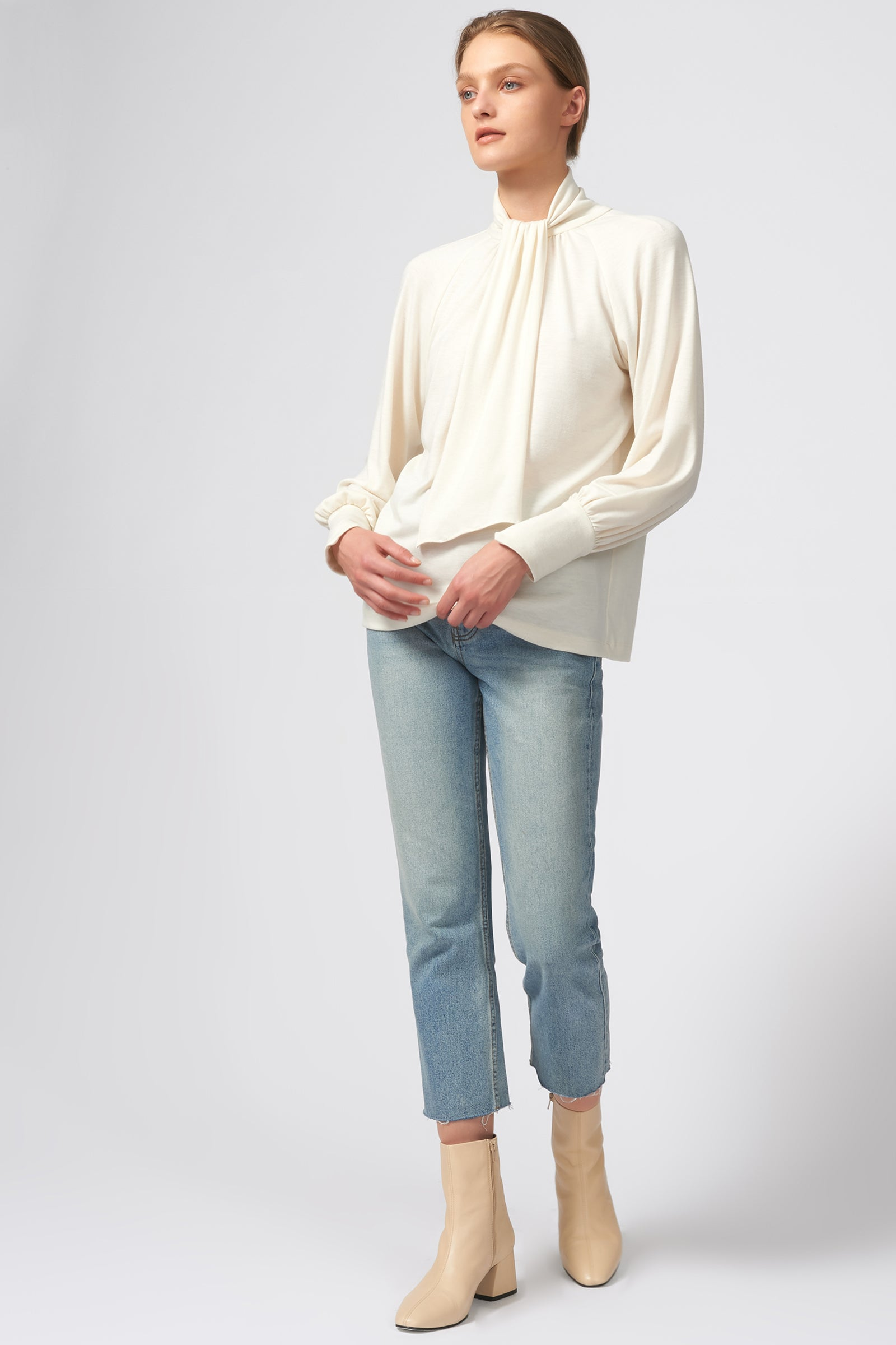 Kal Rieman Priestess Knit Blouse in Cream on Model Full Side View