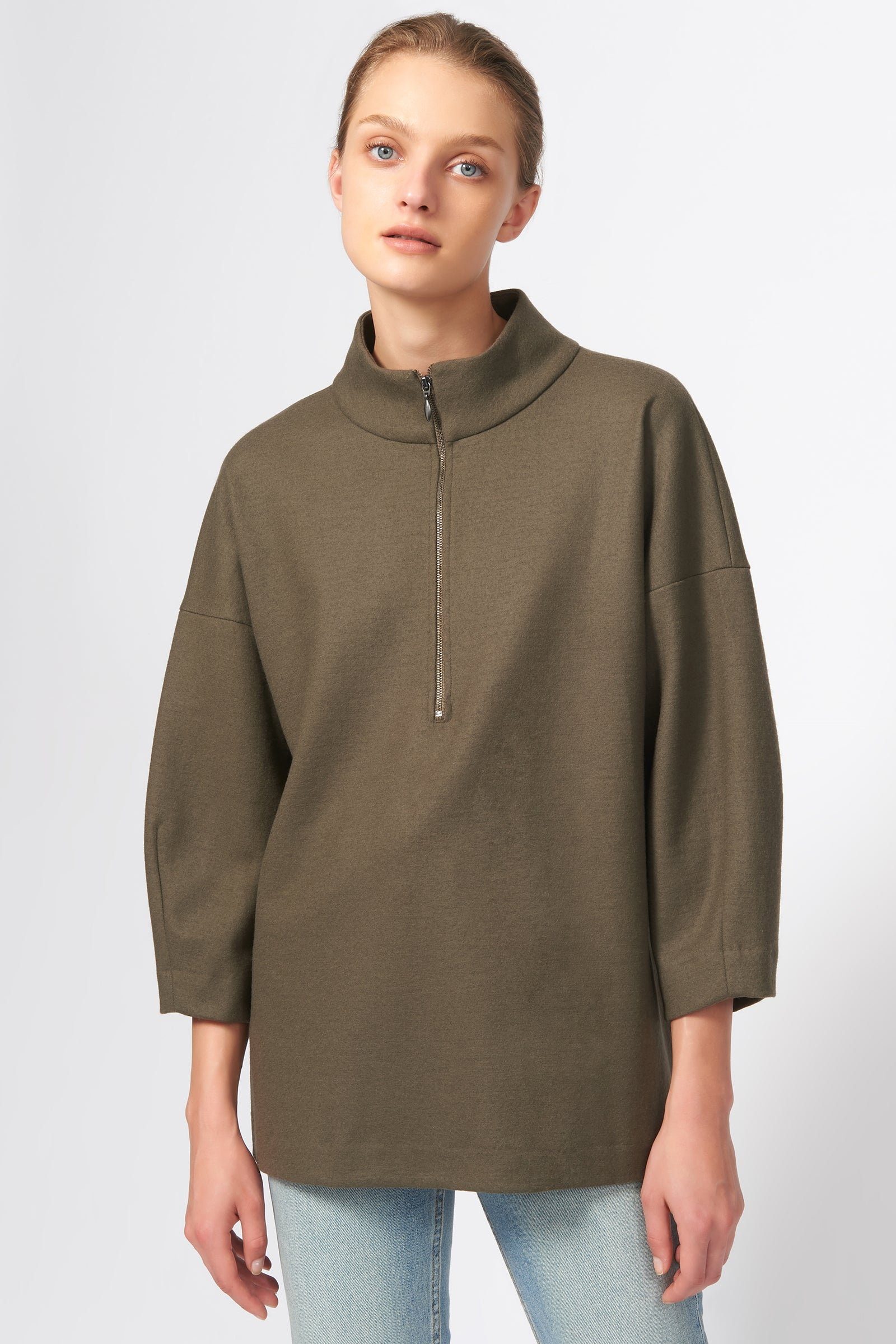 Kal Rieman Quarter Zip Top in Moss on Model Front View