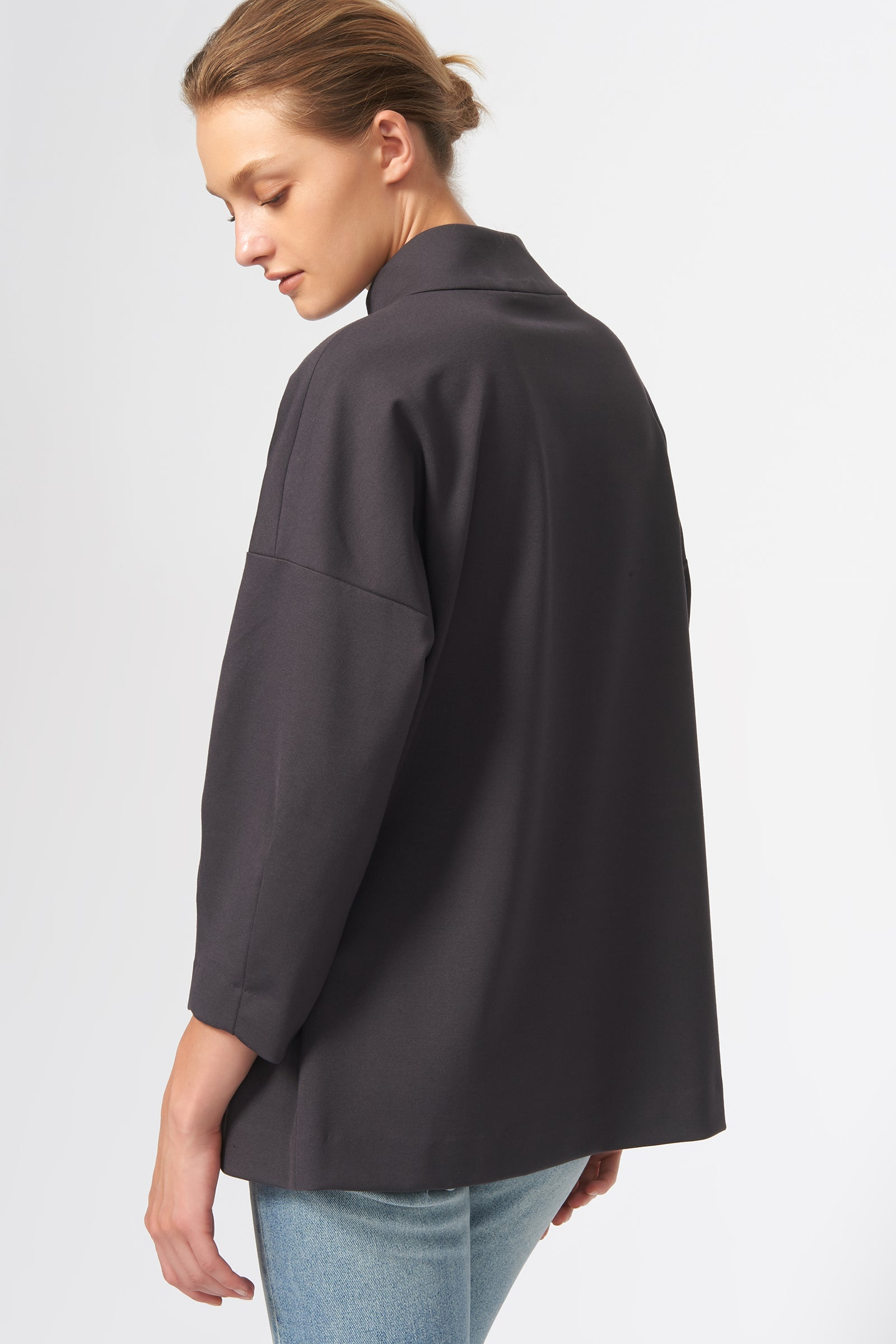 Kal Rieman Quarter Zip Ponte Top in Charcoal on Model Side View