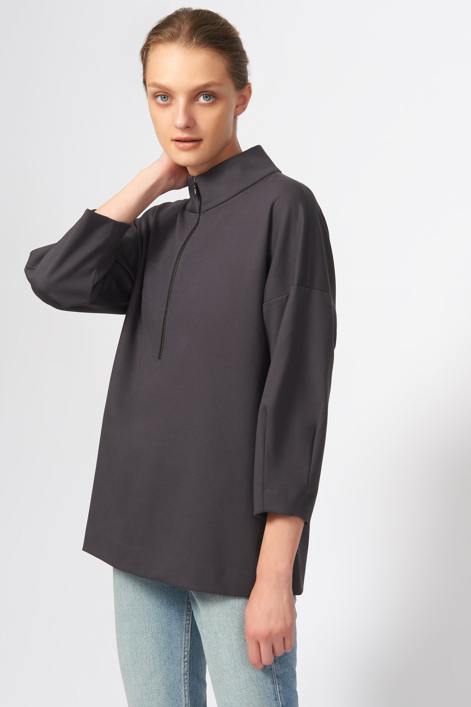 Kal Rieman Quarter Zip Ponte Top in Charcoal on Model Front View