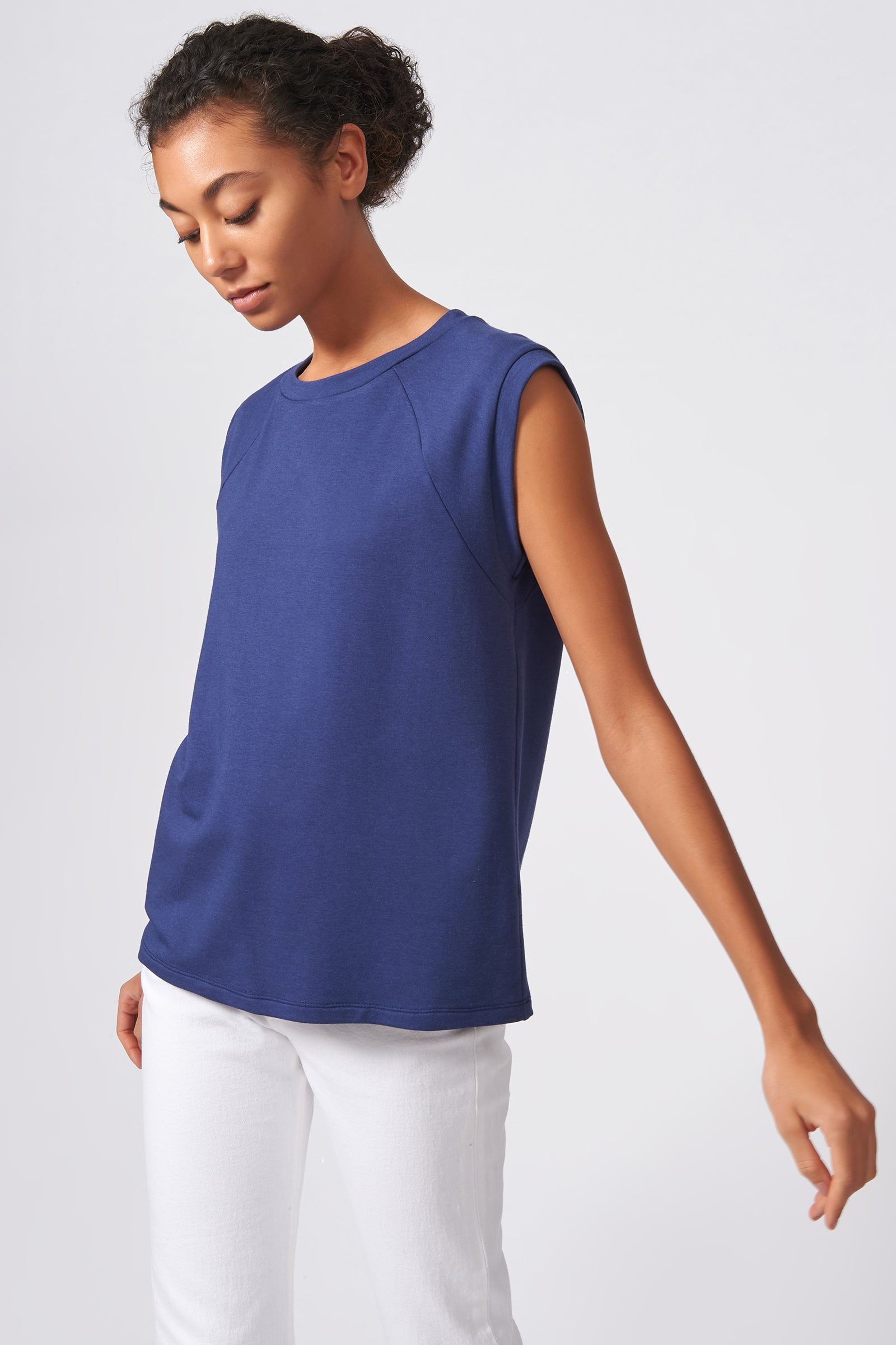 Kal Rieman Raglan Sweatshirt in Blue on Model Front View