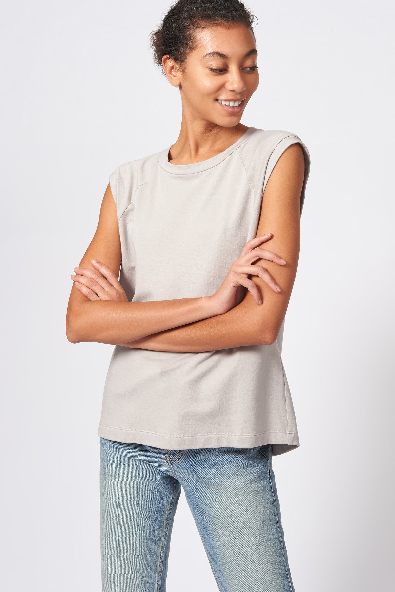 Kal Rieman Raglan Sweatshirt in Khaki on Model Front View
