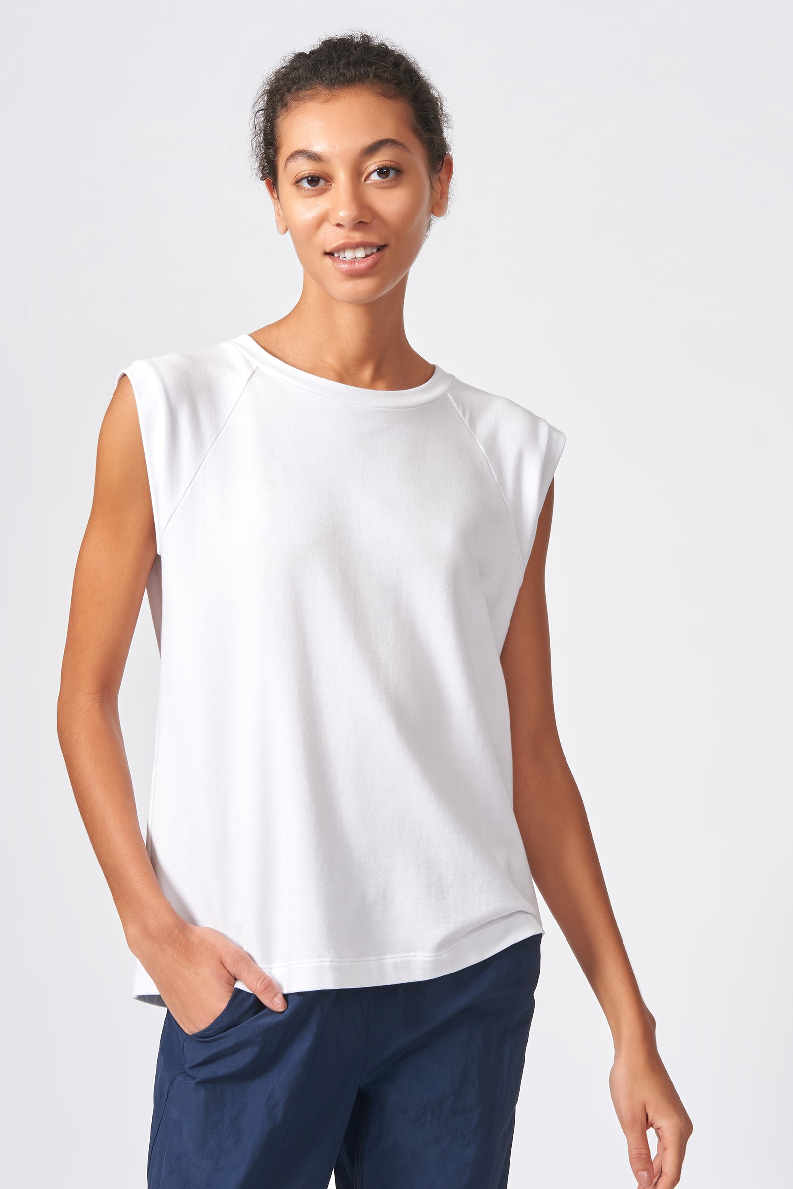 Kal Rieman Raglan Sweatshirt in White on Model Front View