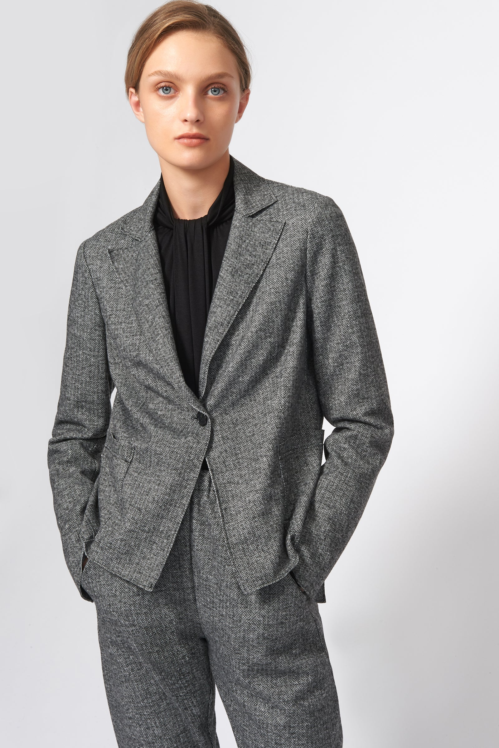 Kal Rieman Raw Edge Blazer in Black Chevron on Model Front View
