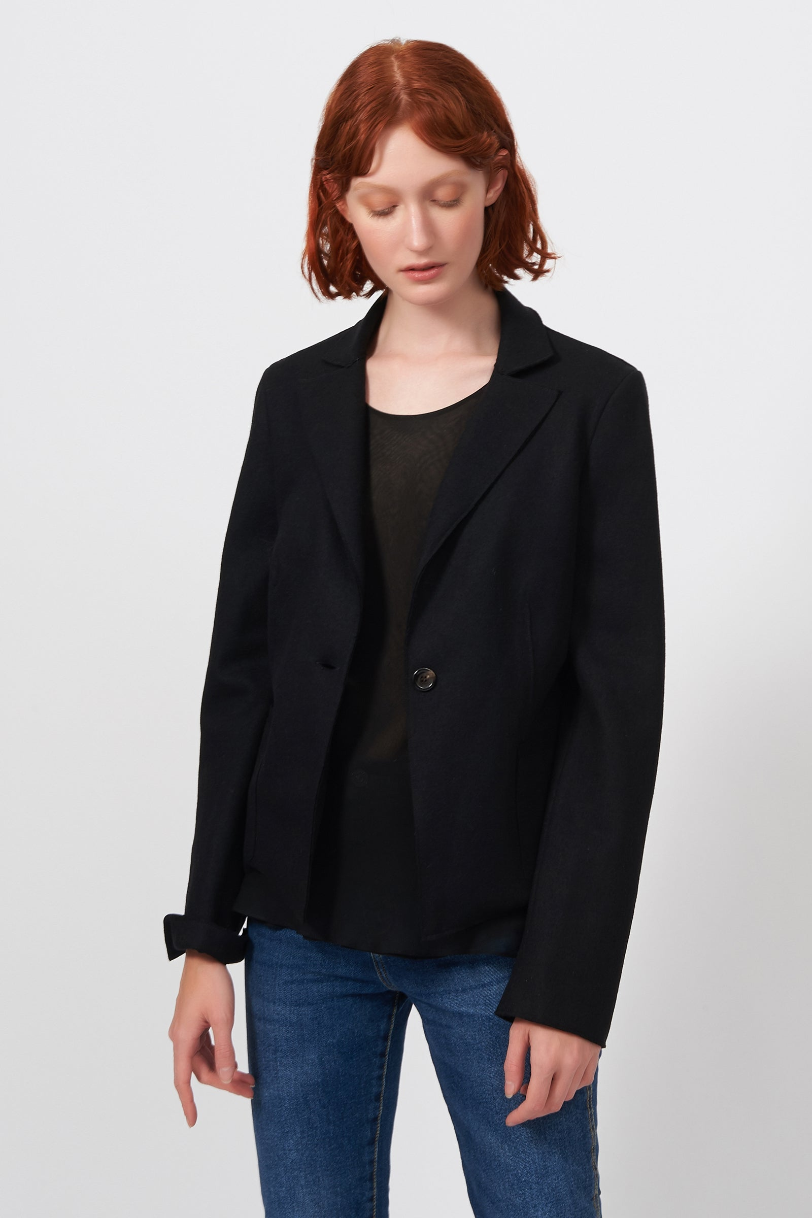 Raw Edge Blazer - Black