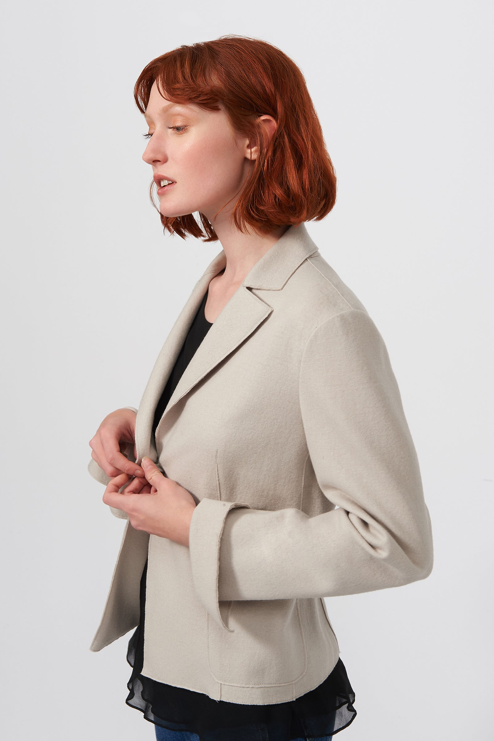 Kal Rieman Raw Edge Blazer in Mink on Model Full Front View