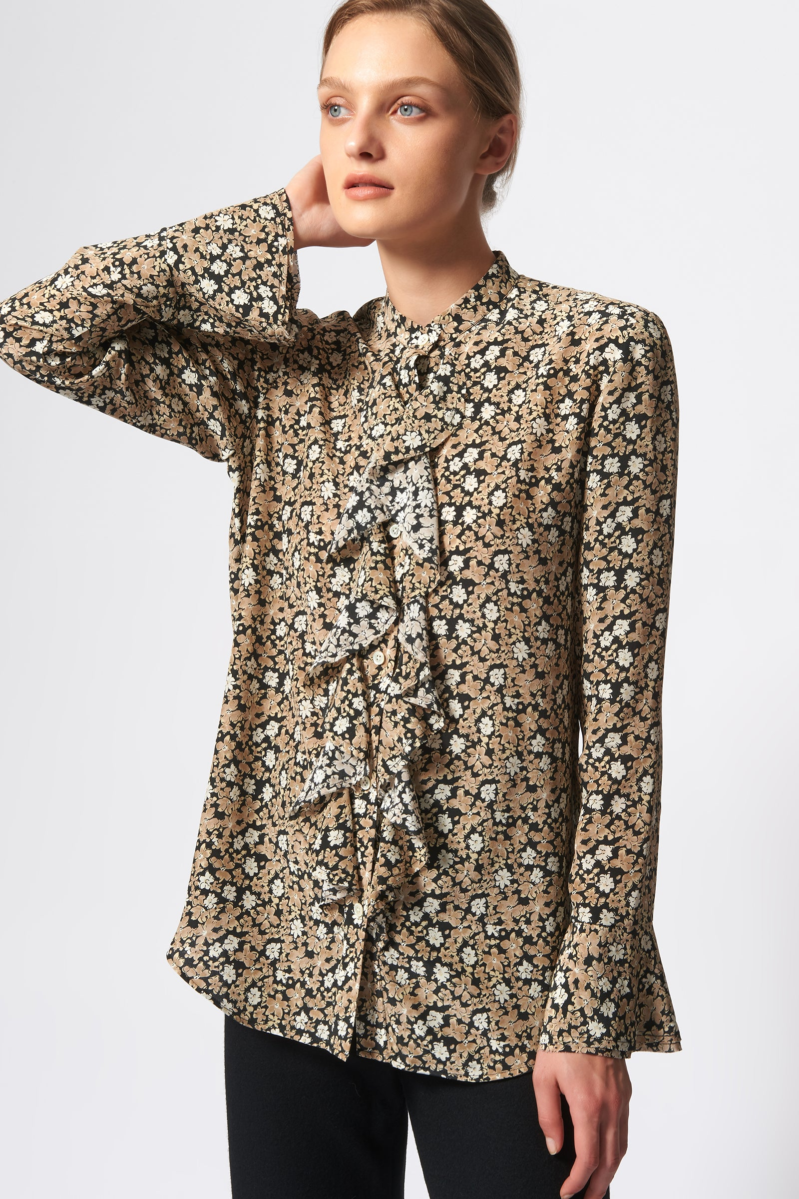 Kal Rieman Ruffle Front Blouse in Black Floral Print on Model Front View