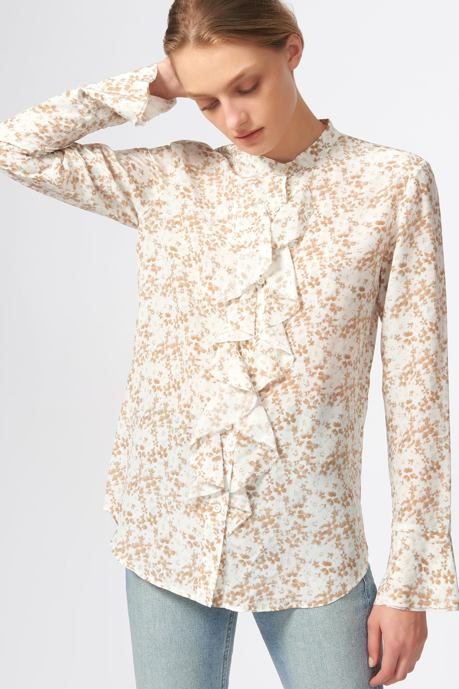Kal Rieman Ruffle Front Blouse in Ivory Floral Print on Model Front View