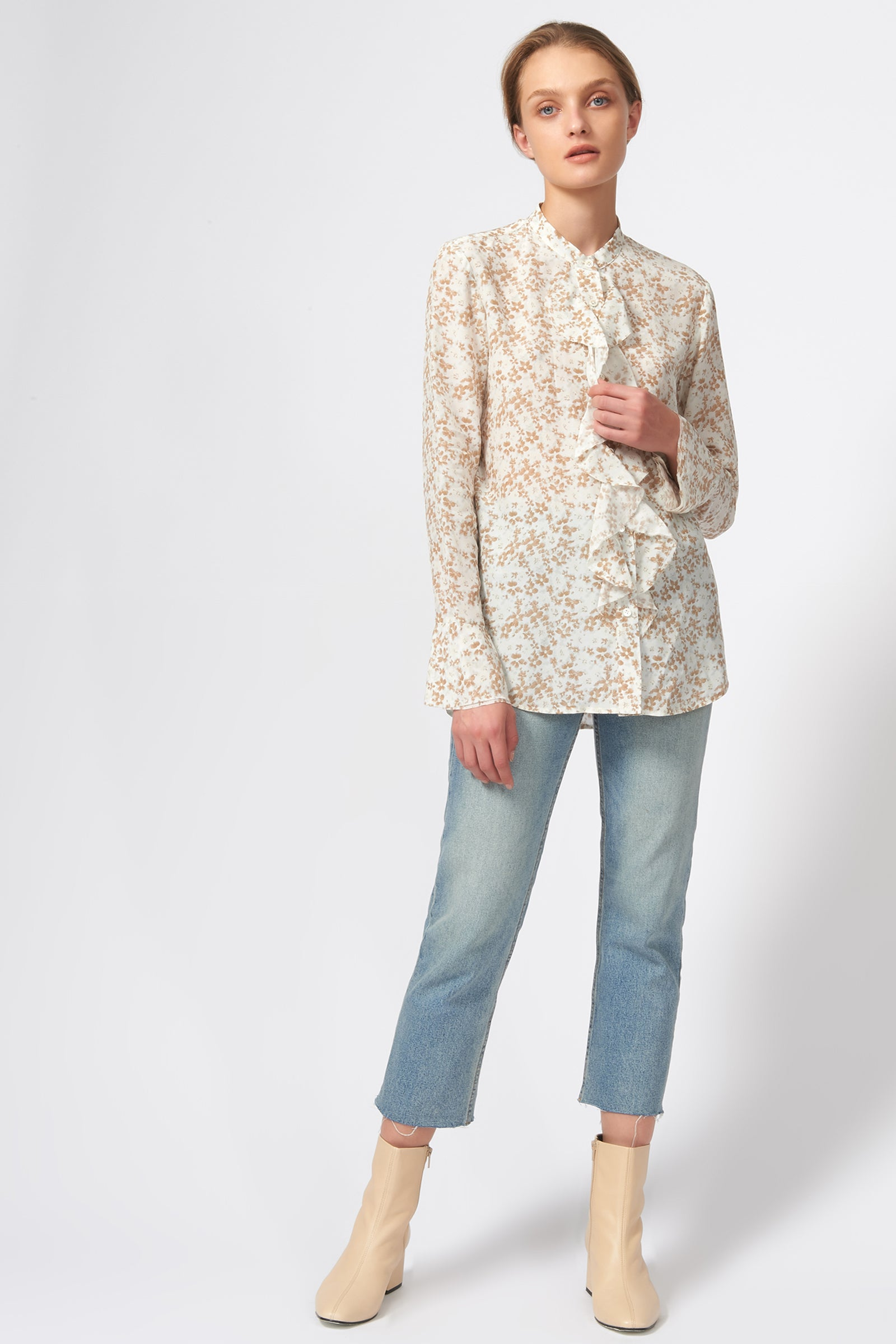 Kal Rieman Ruffle Front Blouse in Ivory Floral Print on Model Front Full View