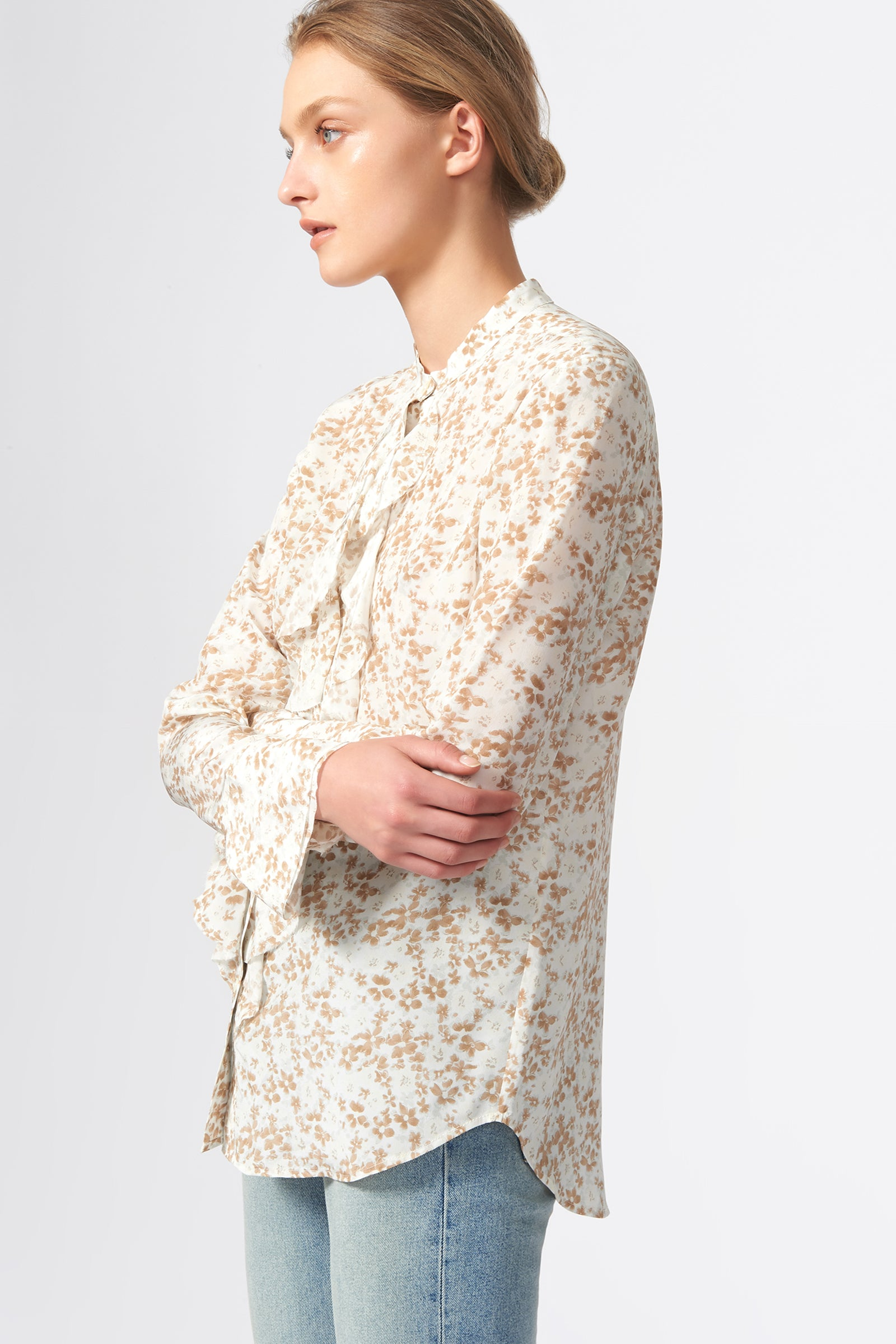 Kal Rieman Ruffle Front Blouse in Ivory Floral Print on Model Side View