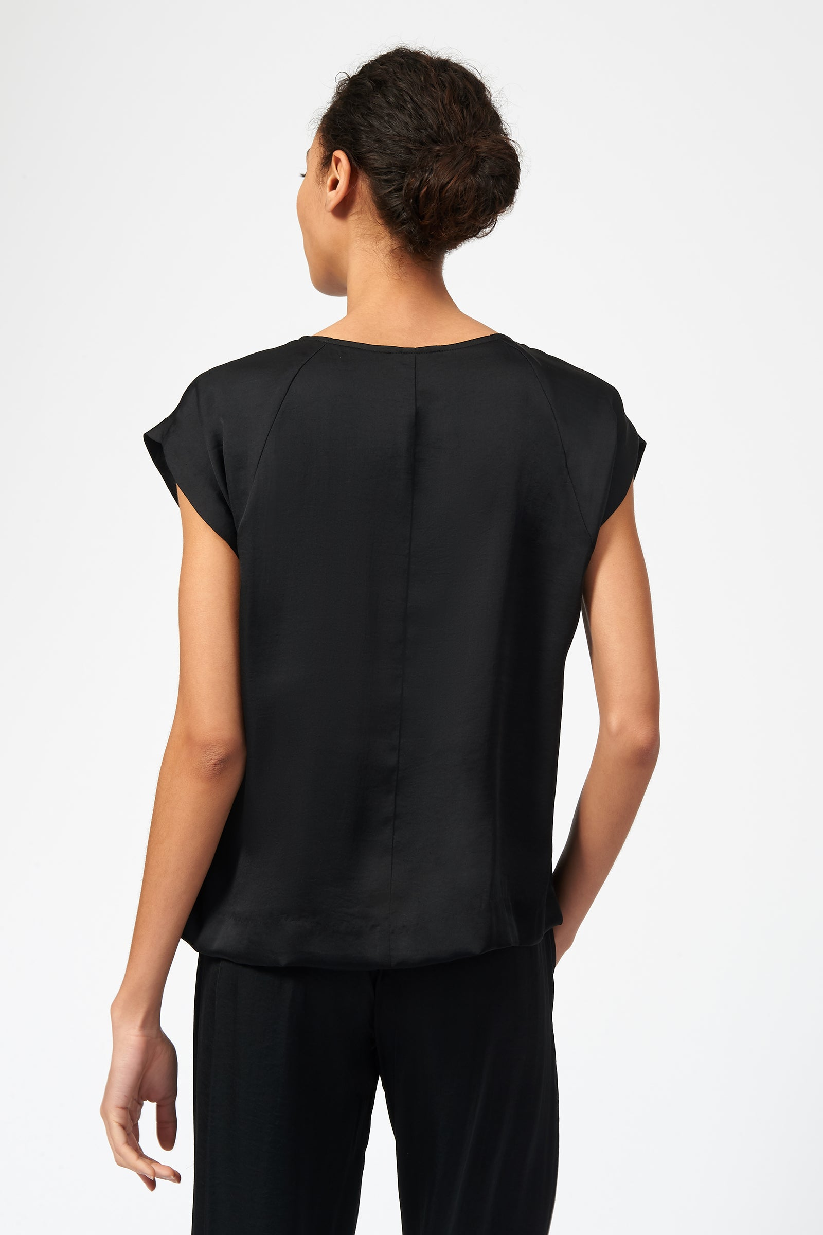 Kal Rieman Satin Raglan Tee in Black on Model Back View