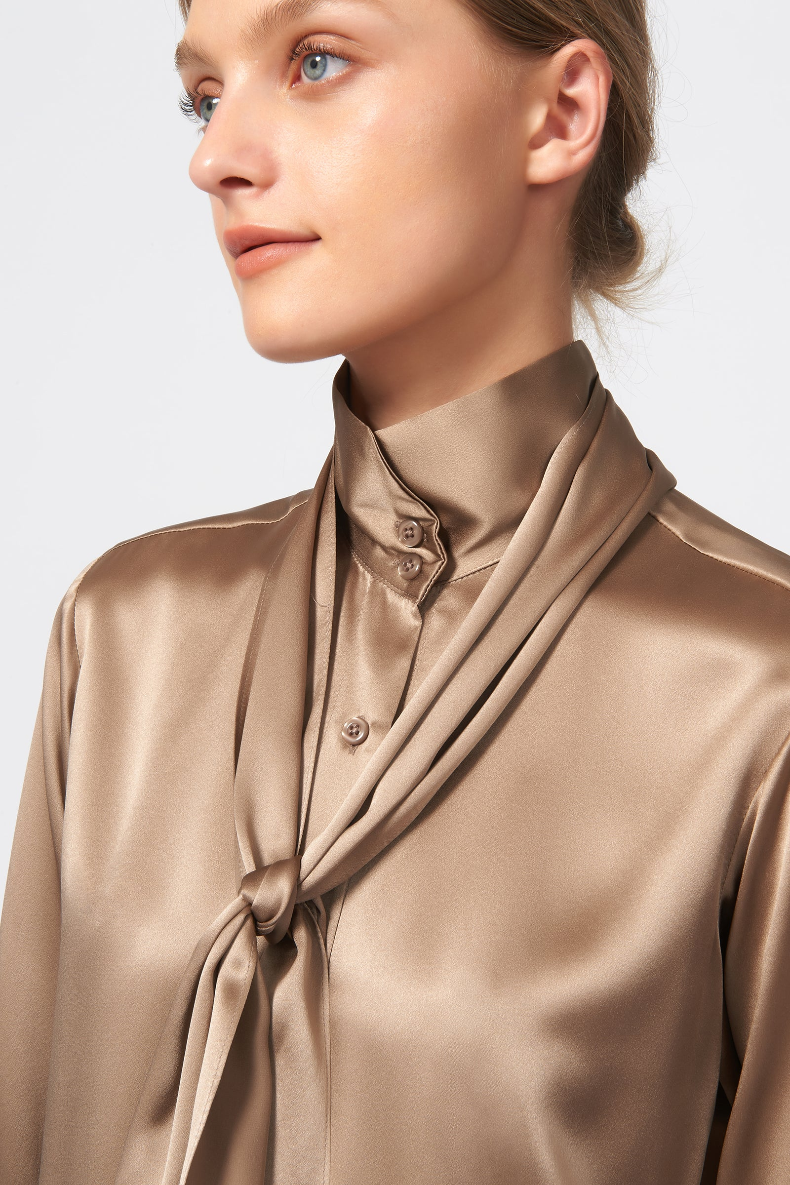 Kal Rieman Scarf Tie Blouse in Charmeuse on Model Front Detail View