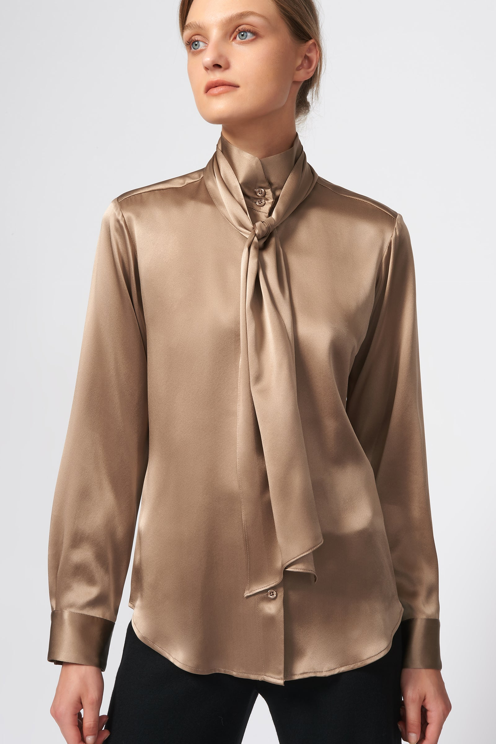 Kal Rieman Scarf Tie Blouse in Charmeuse on Model Front View