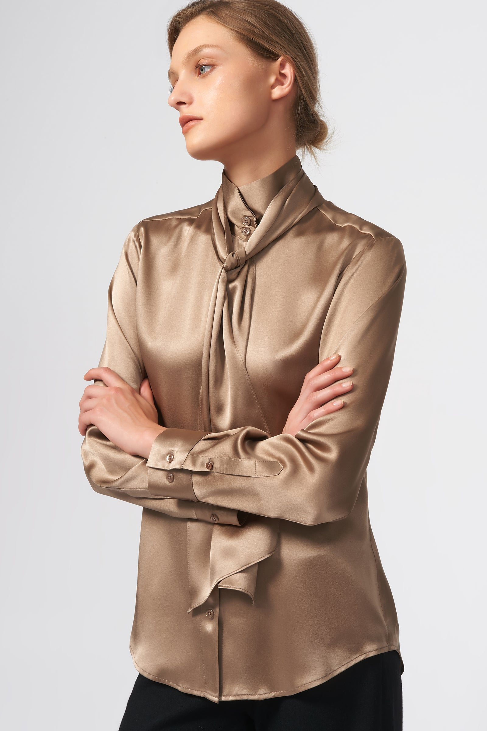 Kal Rieman Scarf Tie Blouse in Charmeuse on Model Side View