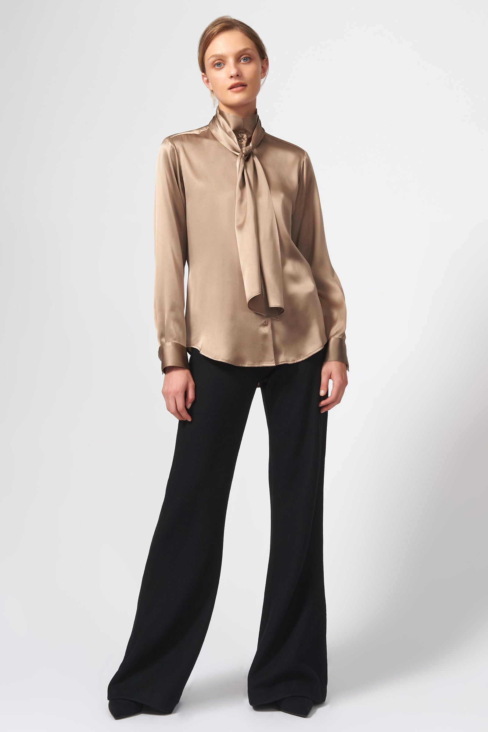 Kal Rieman Scarf Tie Blouse in Charmeuse on Model Full Front View
