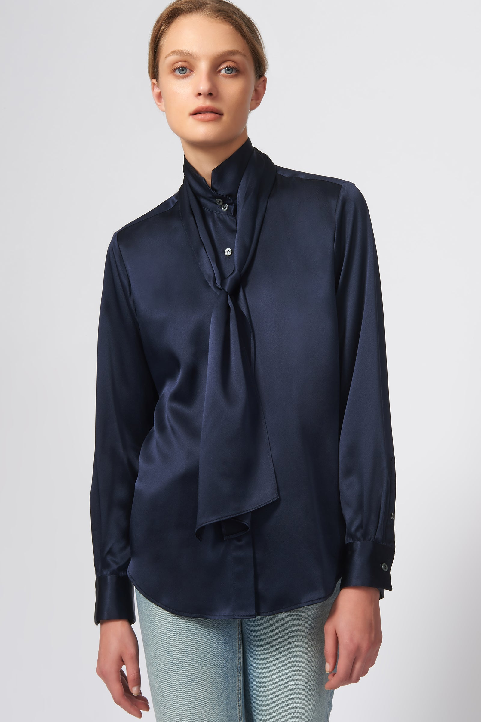 Kal Rieman Scarf Tie Blouse in Navy on Model Front View