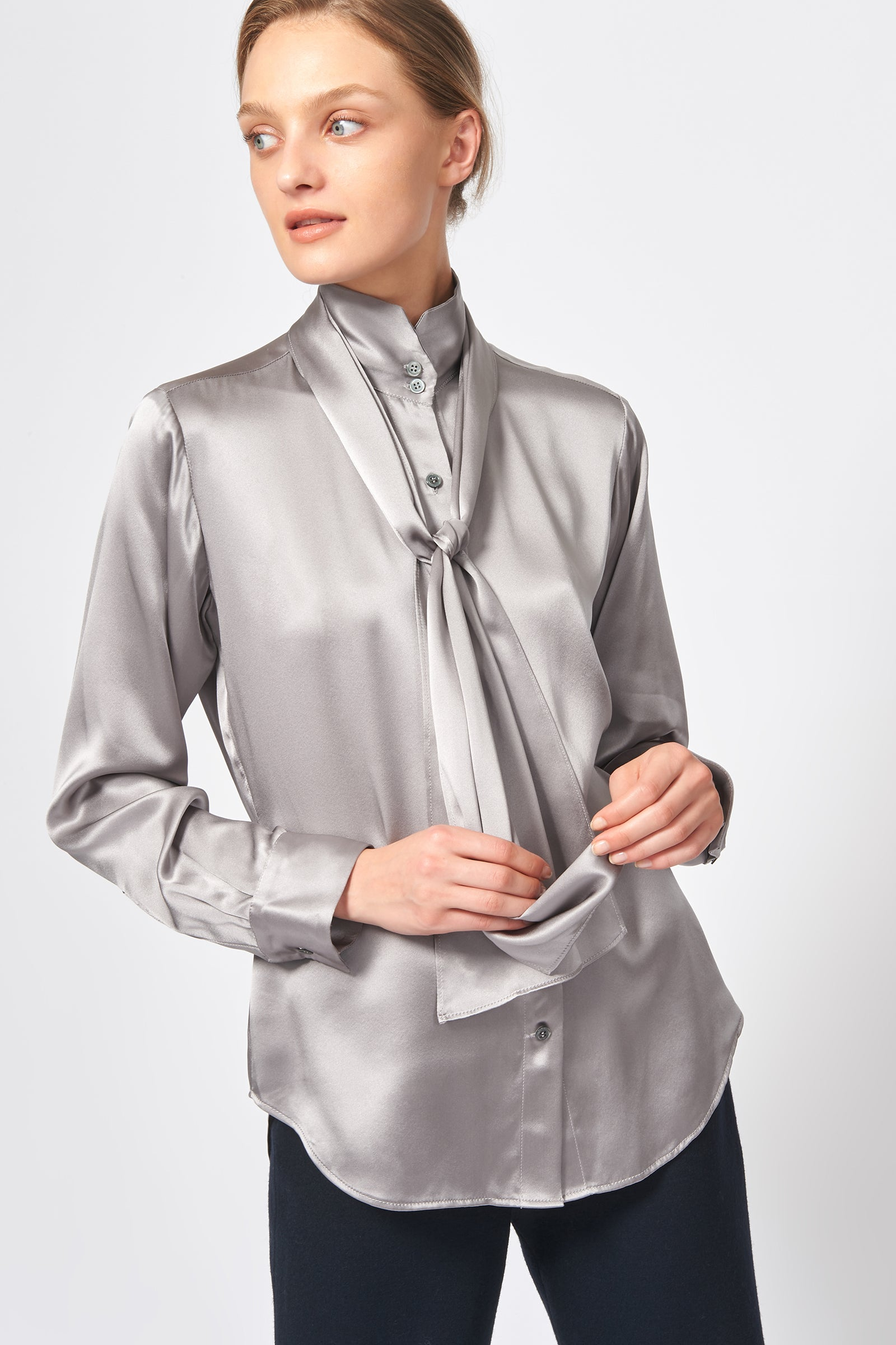 Kal Rieman Scarf Tie Blouse in Silver on Model Front View