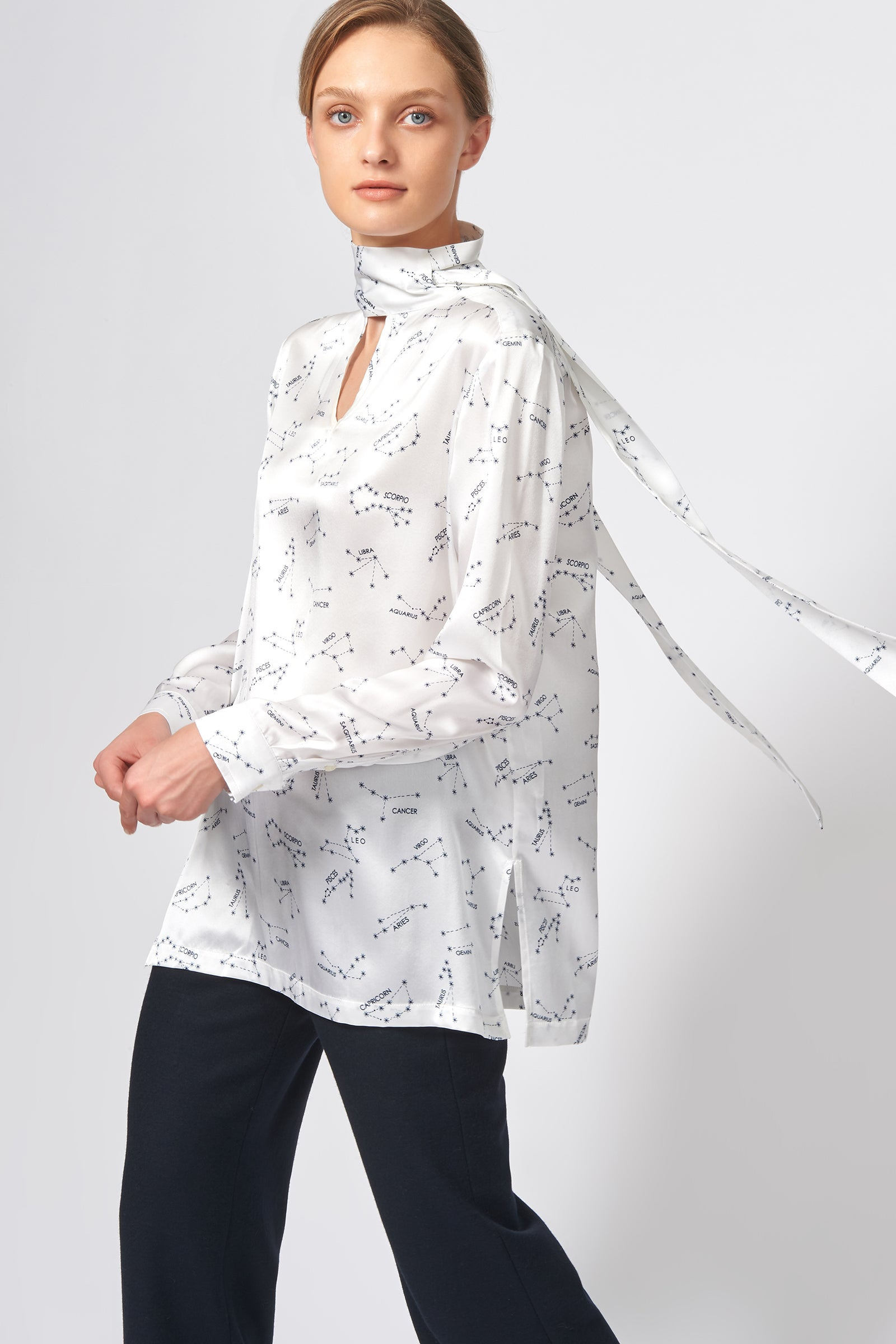 Kal Rieman Scarf Tunic in Ivory Horoscope on Model Front View