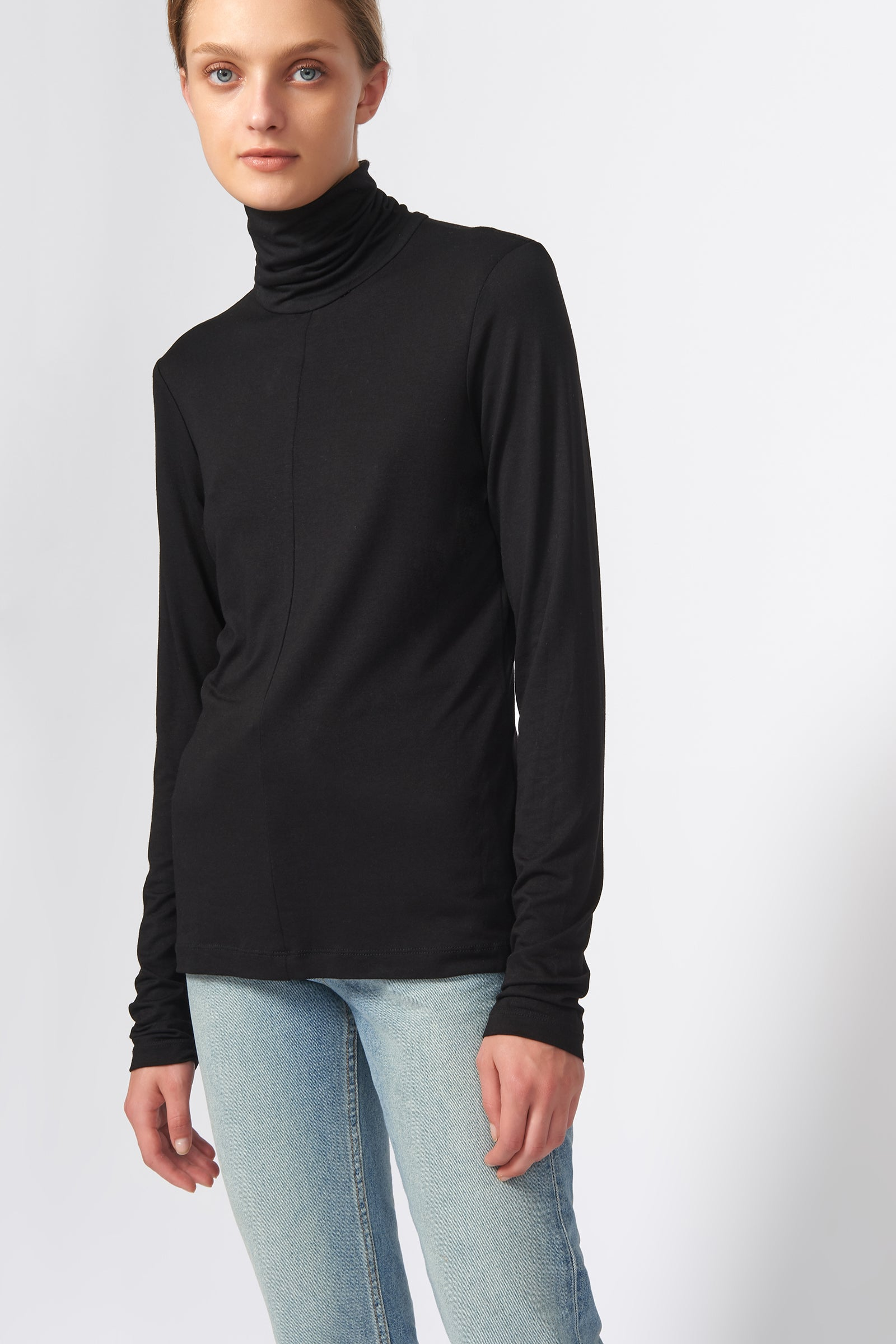 Kal Rieman Seamed Turtleneck in Black on Model Front View