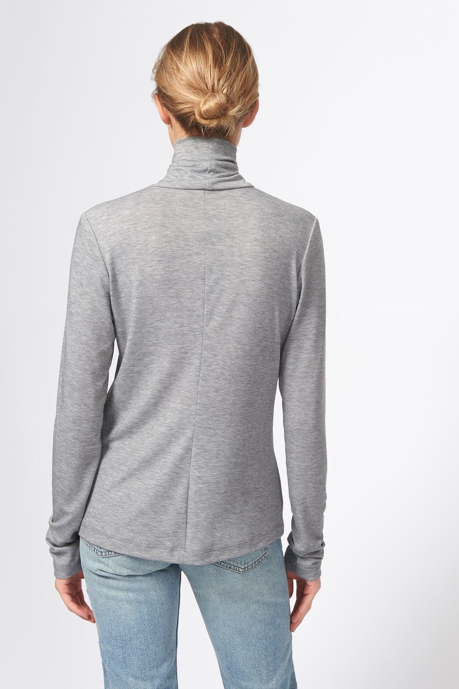 Kal Rieman Seamed Turtleneck in Grey on Model Front View