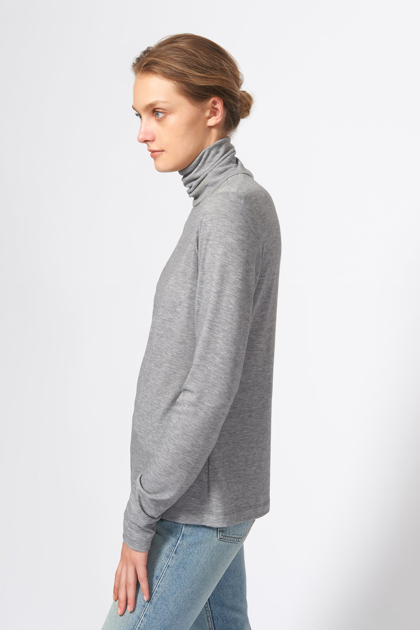 Kal Rieman Seamed Turtleneck in Grey on Model Side View