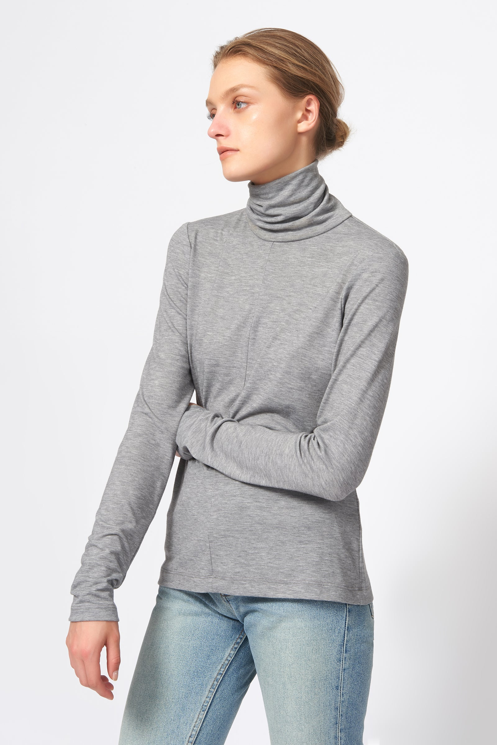 Kal Rieman Seamed Turtleneck in Grey on Model Front Side View