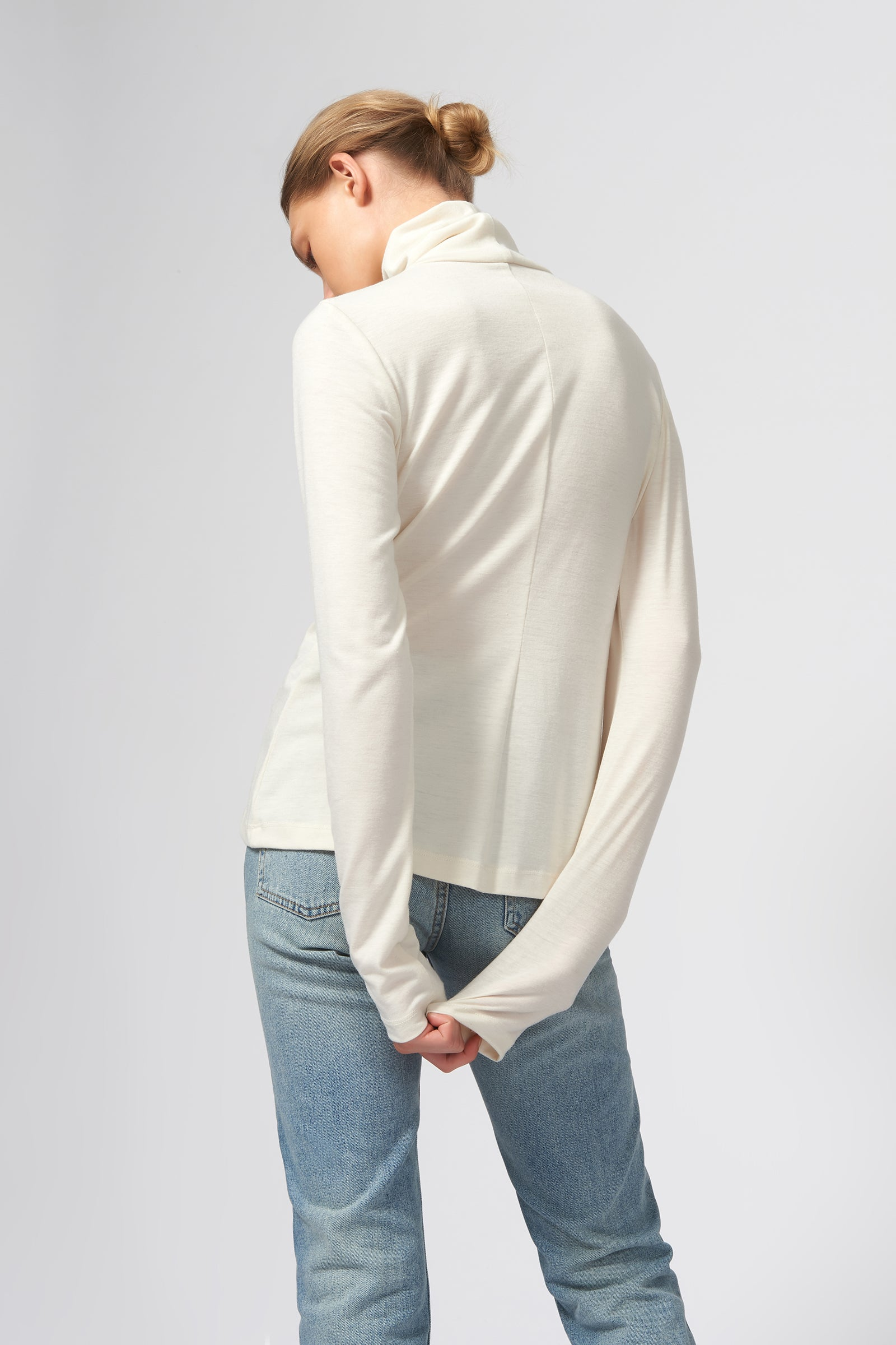Kal Rieman Seamed Turtleneck in Ivory on Model Back View