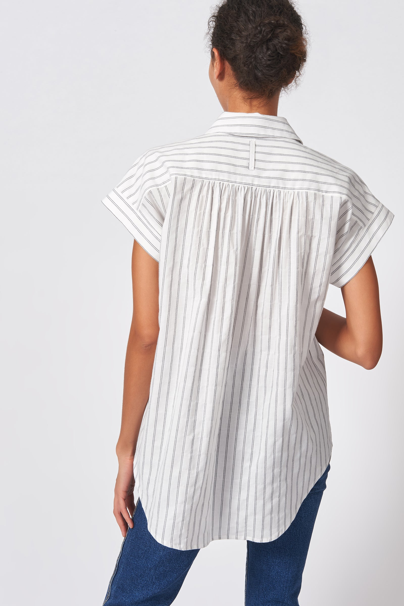 Kal Rieman Shirred Back Collared Top in Black Stripe on Model Back View