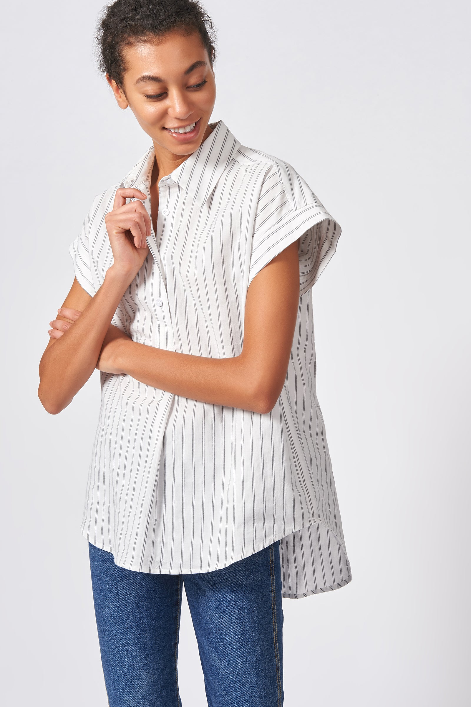 Kal Rieman Shirred Back Collared Top in Black Stripe on Model Close-up View